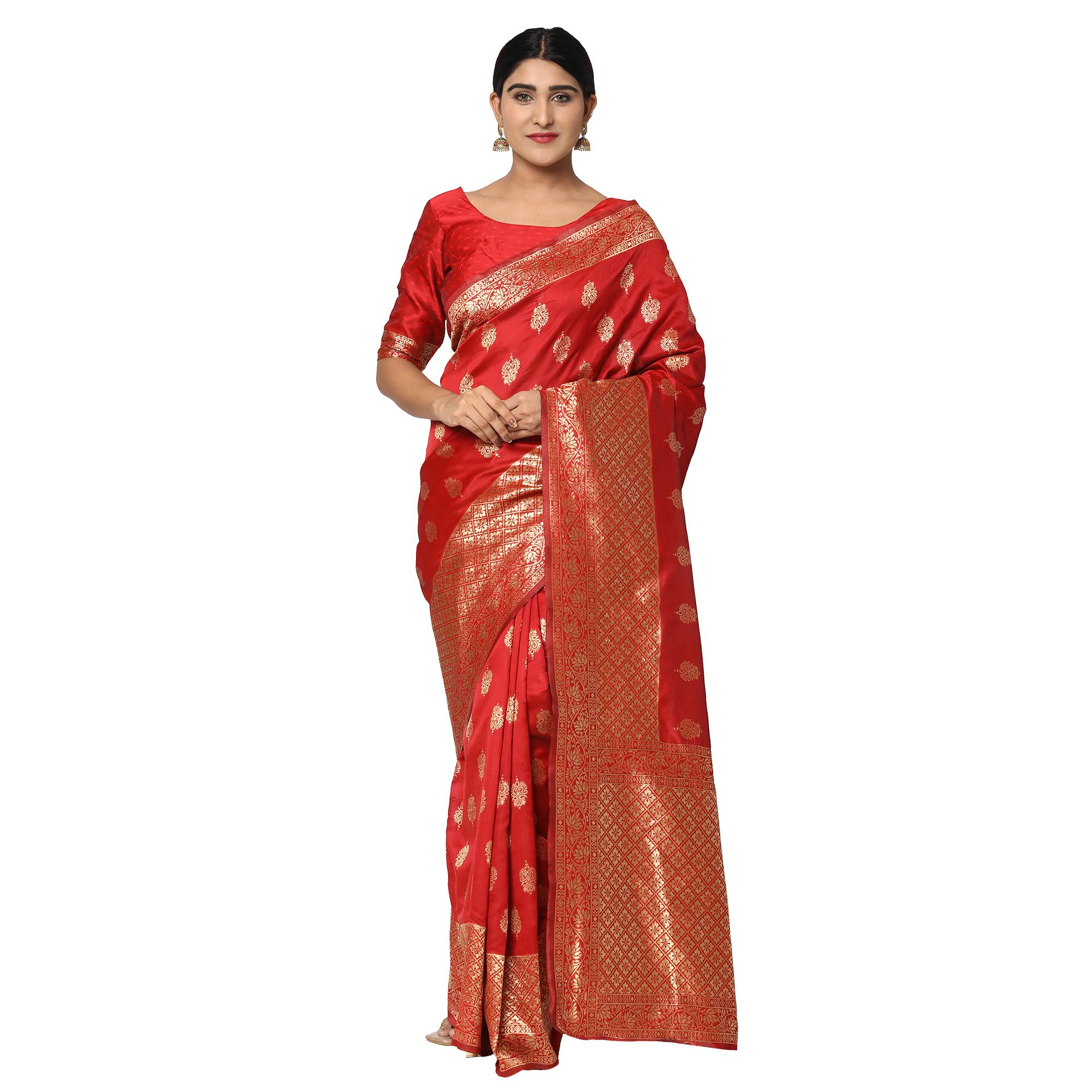 Glemora Red Designer Ethnic Wear Silk Blend Banarasi Traditional Saree