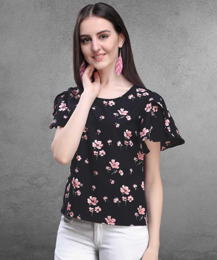 AWRIYA | AWRIYA Casual Butterfly Sleeves Floral Print Women Multicolor Top - 252-BLACK