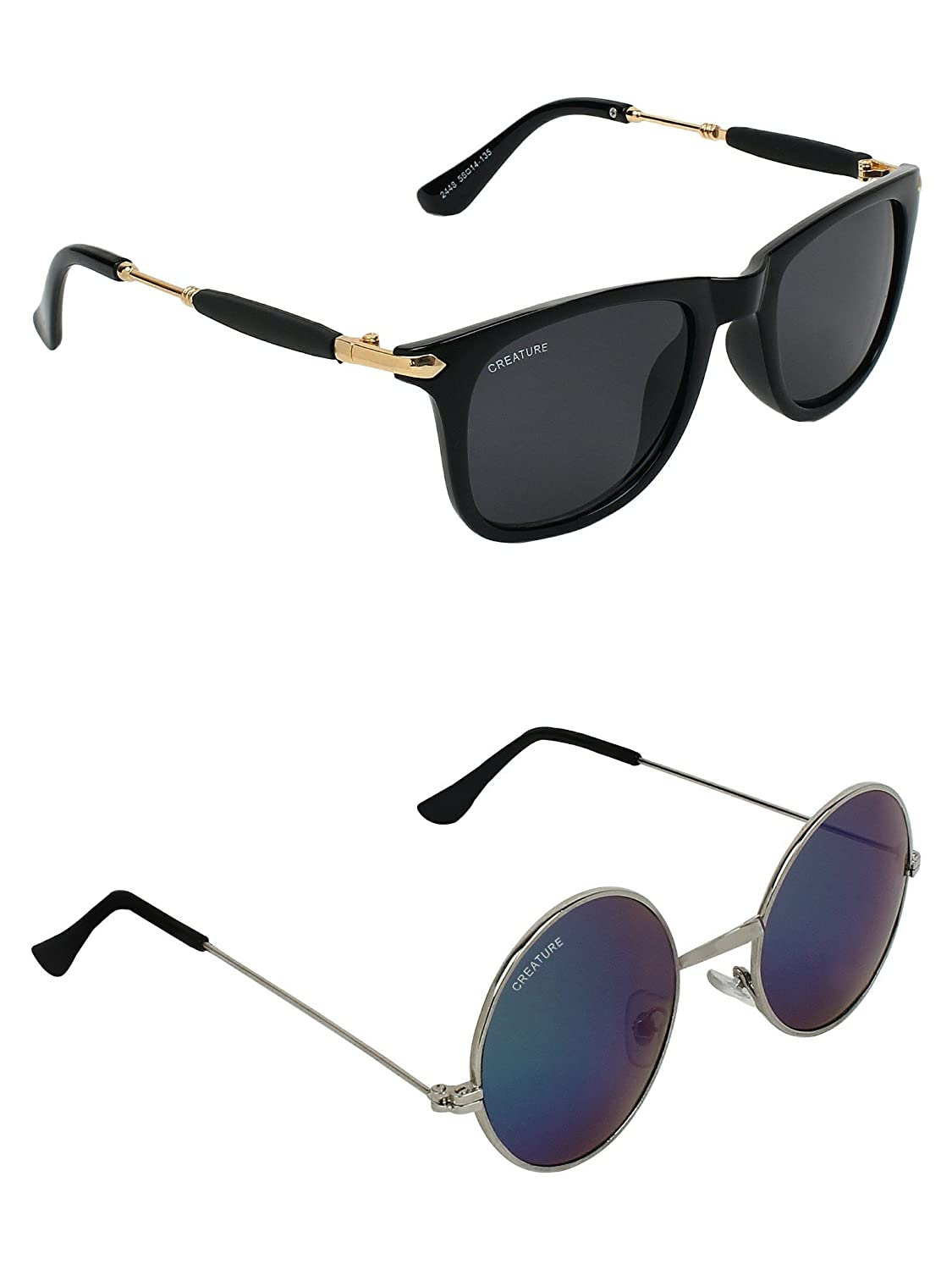 CREATURE | CREATURE Black & Blue Round Sunglasses Combo with UV Protection (Lens-Blue & Blue|Frame-Black & Silver)