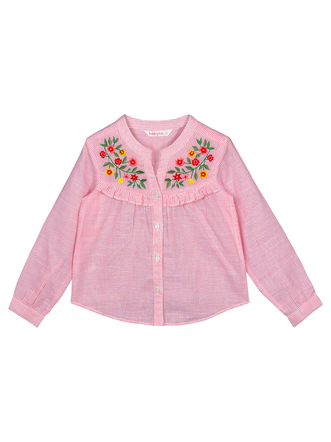 Budding Bees | Budding Bees Girls  Embroidered Top-Pink