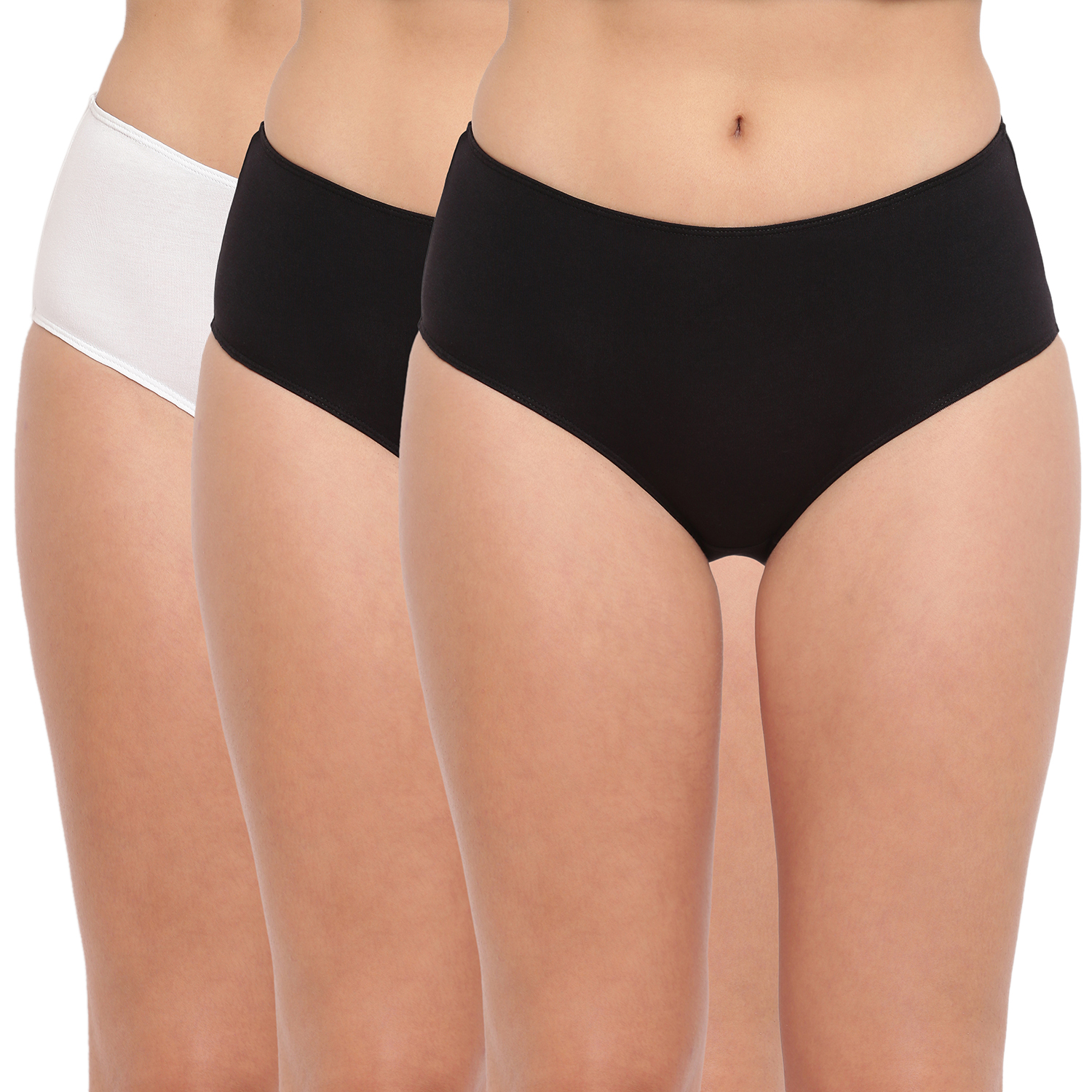 BASIICS by La Intimo | Tease 2 Please Hipster/ Full Brief Black-White (Pack of 3)