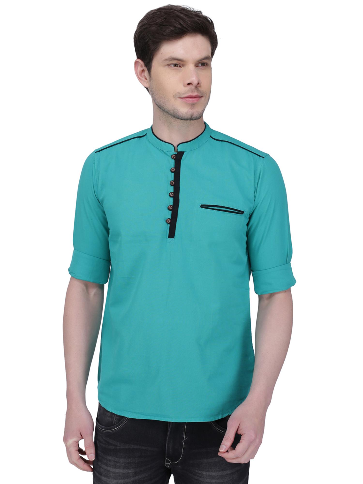 Kuons Avenue | Kuons Avenue Men's Forest Green Linen Cotton Short Kurta- KACLFS1302GE