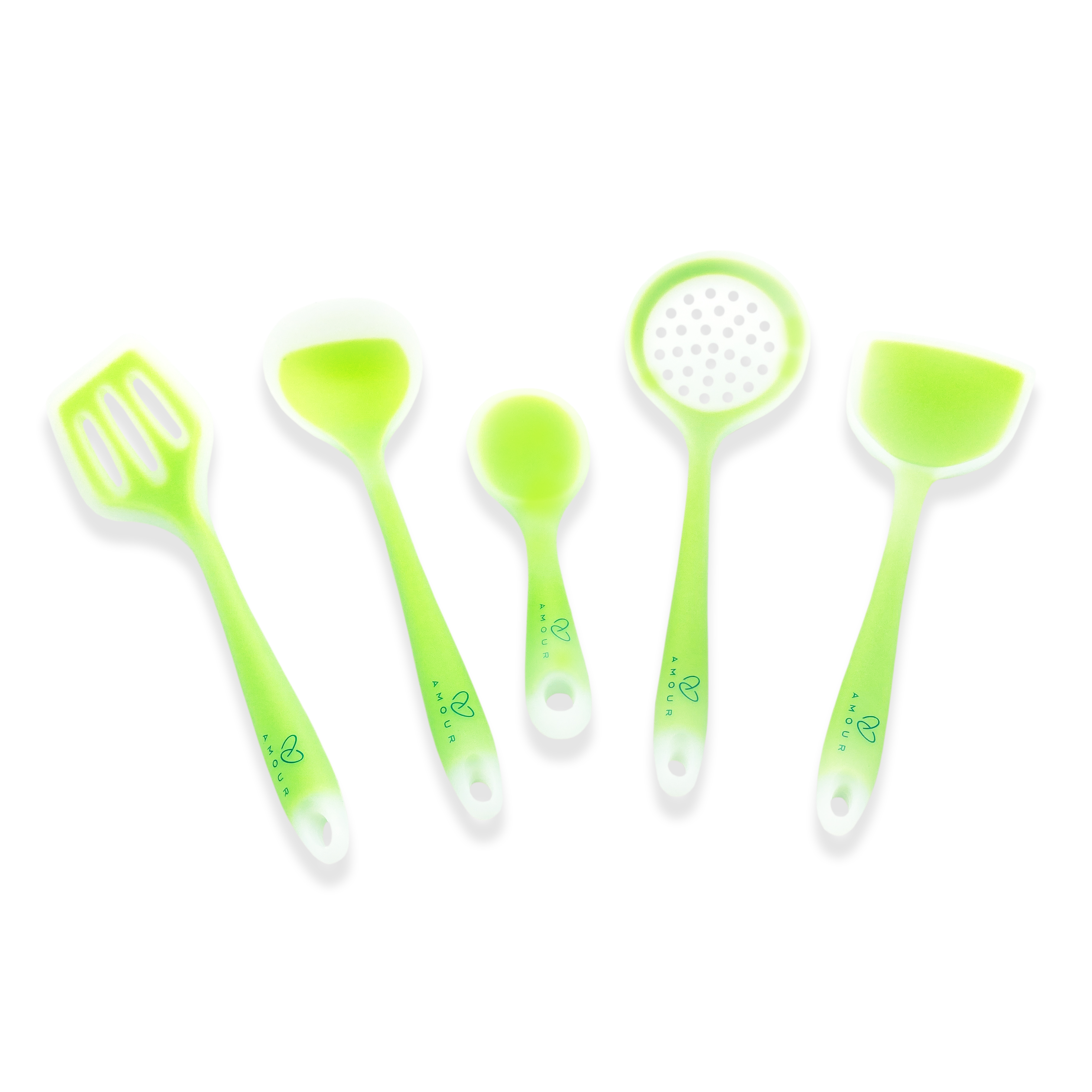 Amour   Amour Translucent Silicone Cooking Baking Serving Utensils Spatula Set for Nonstick Cookware, 5 Piece Green