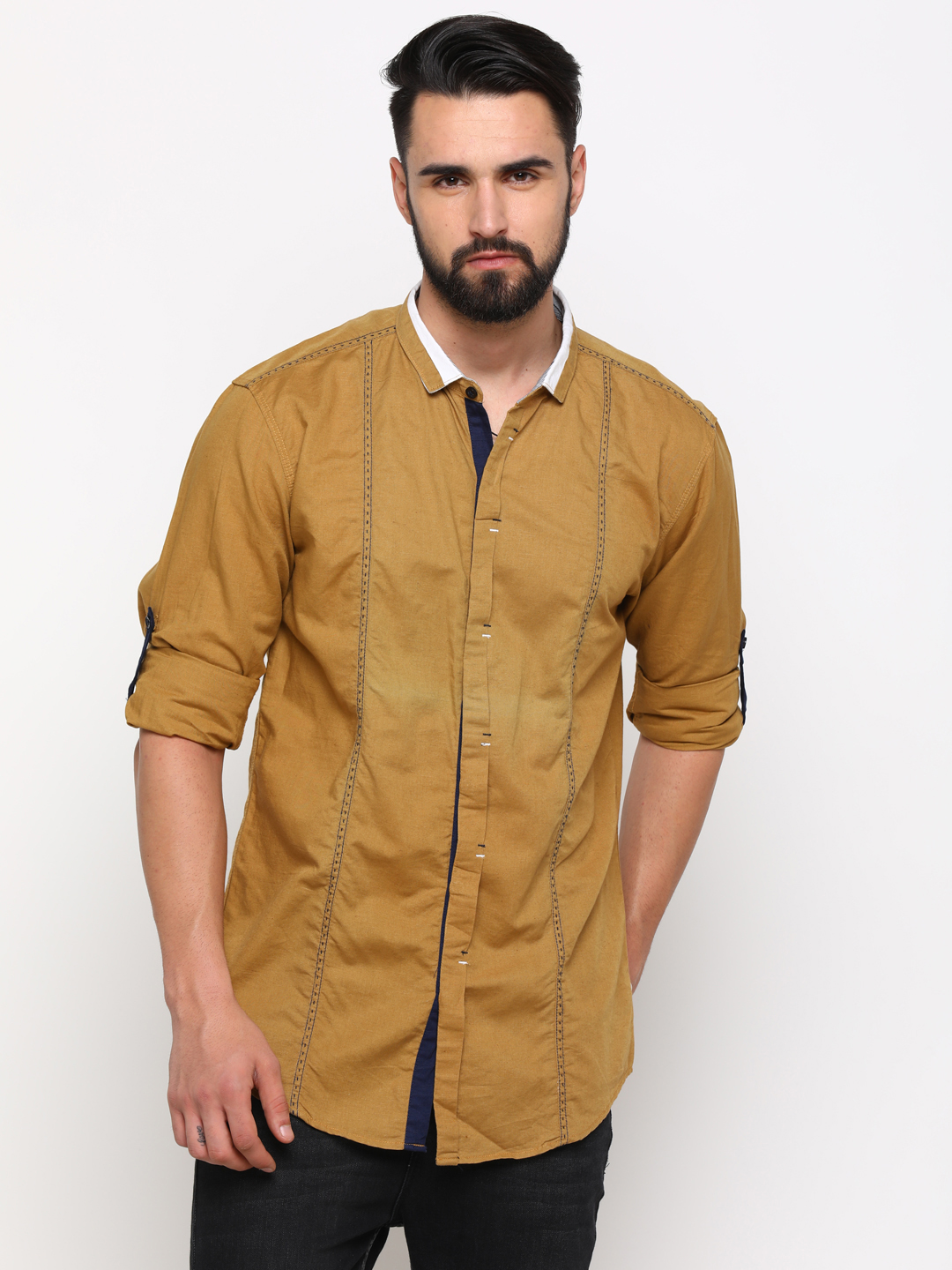 With | With Men's Khaki Linen Solid SlimFit Shirt