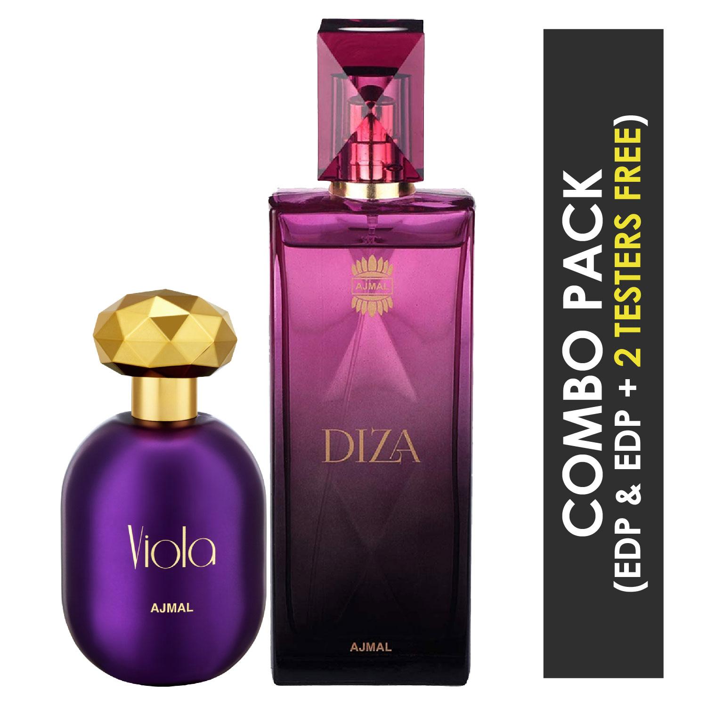 Ajmal | Ajmal Viola EDP Fruity Floral Perfume 75ml for Women and Diza EDP Fruity Floral Perfume 100ml for Women + 2 Parfum Testers FREE