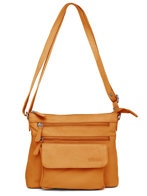 WildHorn | WildHorn Upper Grain Genuine Leather Ladies Cross-body Hand Bag with Adjustable Strap - Yellow