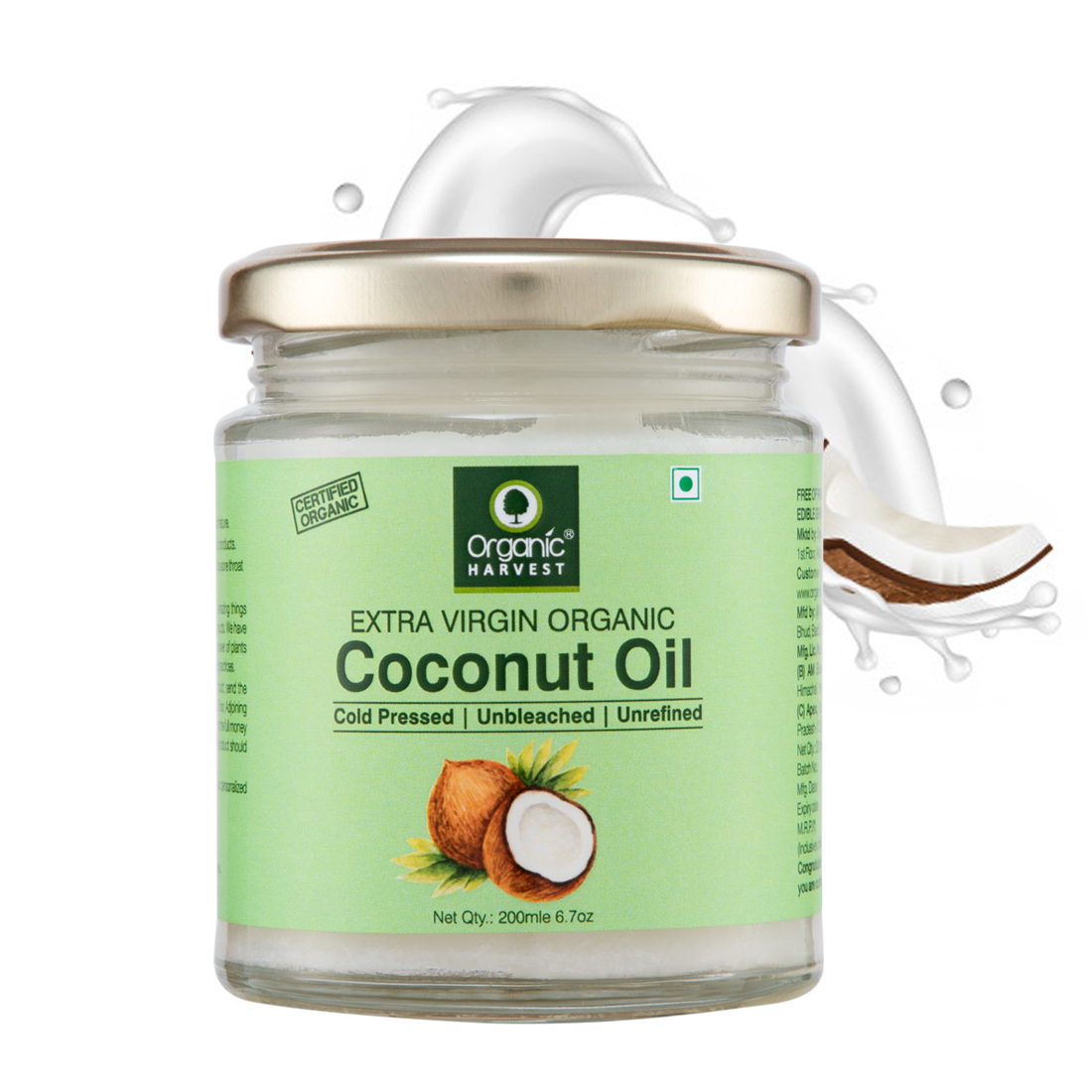 Organic Harvest | Organic Harvest Extra Virgin Coconut Oil Cold Pressed, Solution for Body Massage, Skin Care, Hair Growth, and Oil Pulling, 200ml