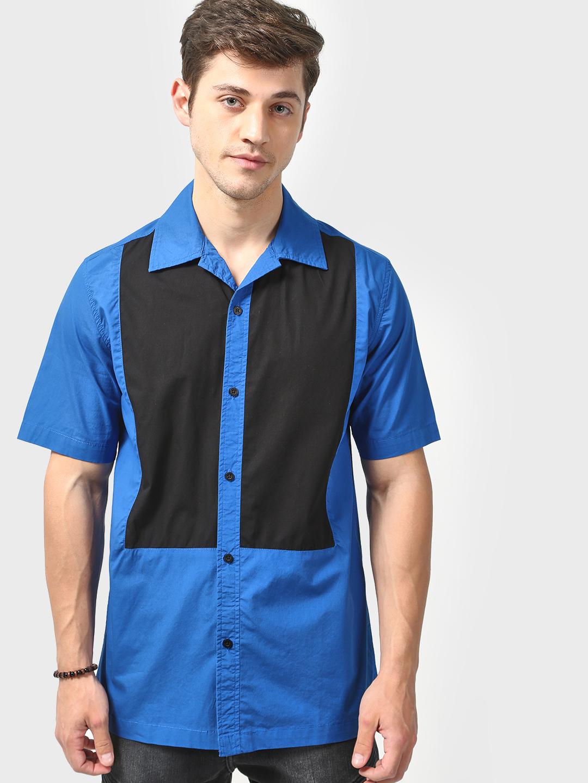 Blue Saint | Blue Saint Men's  Blue Regular Fit  Shirt