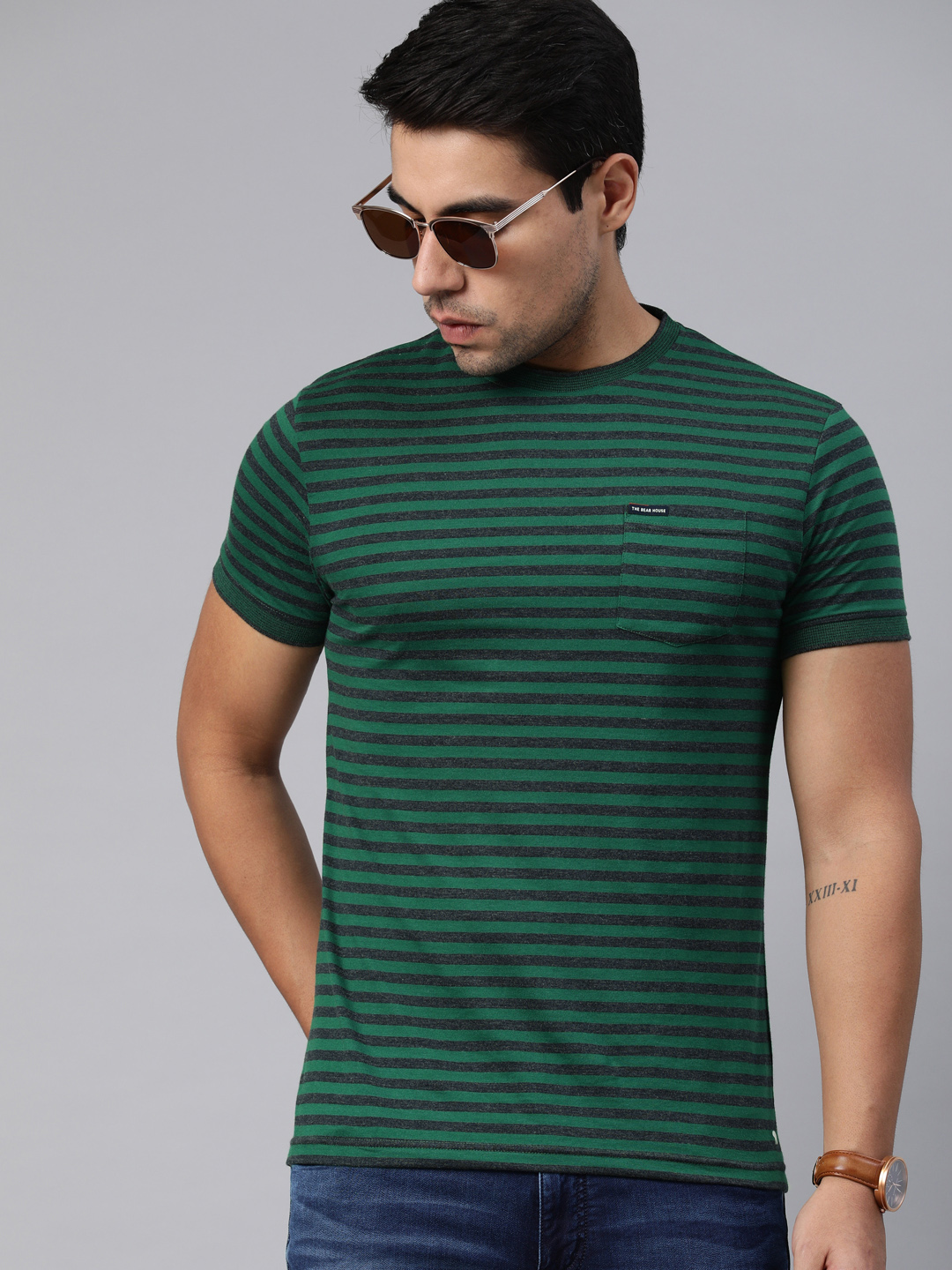The Bear House | Round Neck Striped T-Shirt