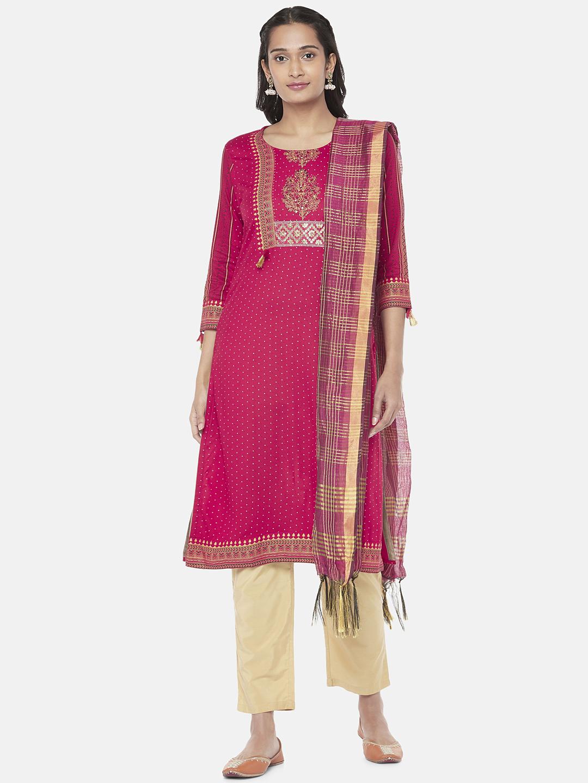 Ethnicity | Silk Blend  Straight Women Magenta Dupatta