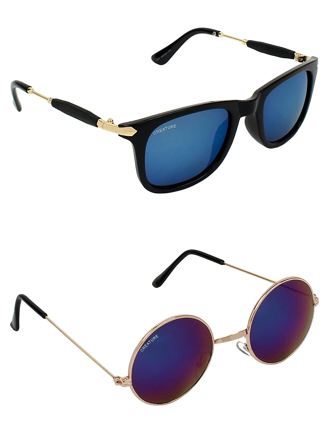 CREATURE | CREATURE Blue & Blue Round Sunglasses Combo with UV Protection (Lens-Blue|Frame-Black & Golden)