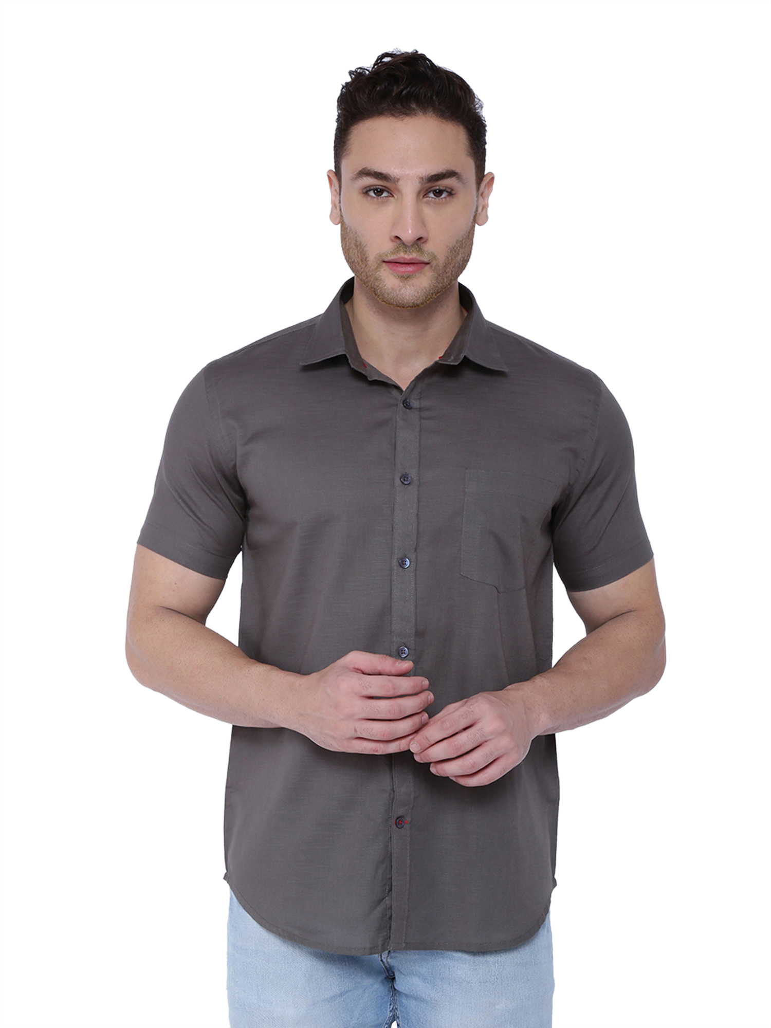 Southbay | Southbay Men's Dark Grey Half Sleeve Linen Cotton Formal Shirt-SBCLHS236GY