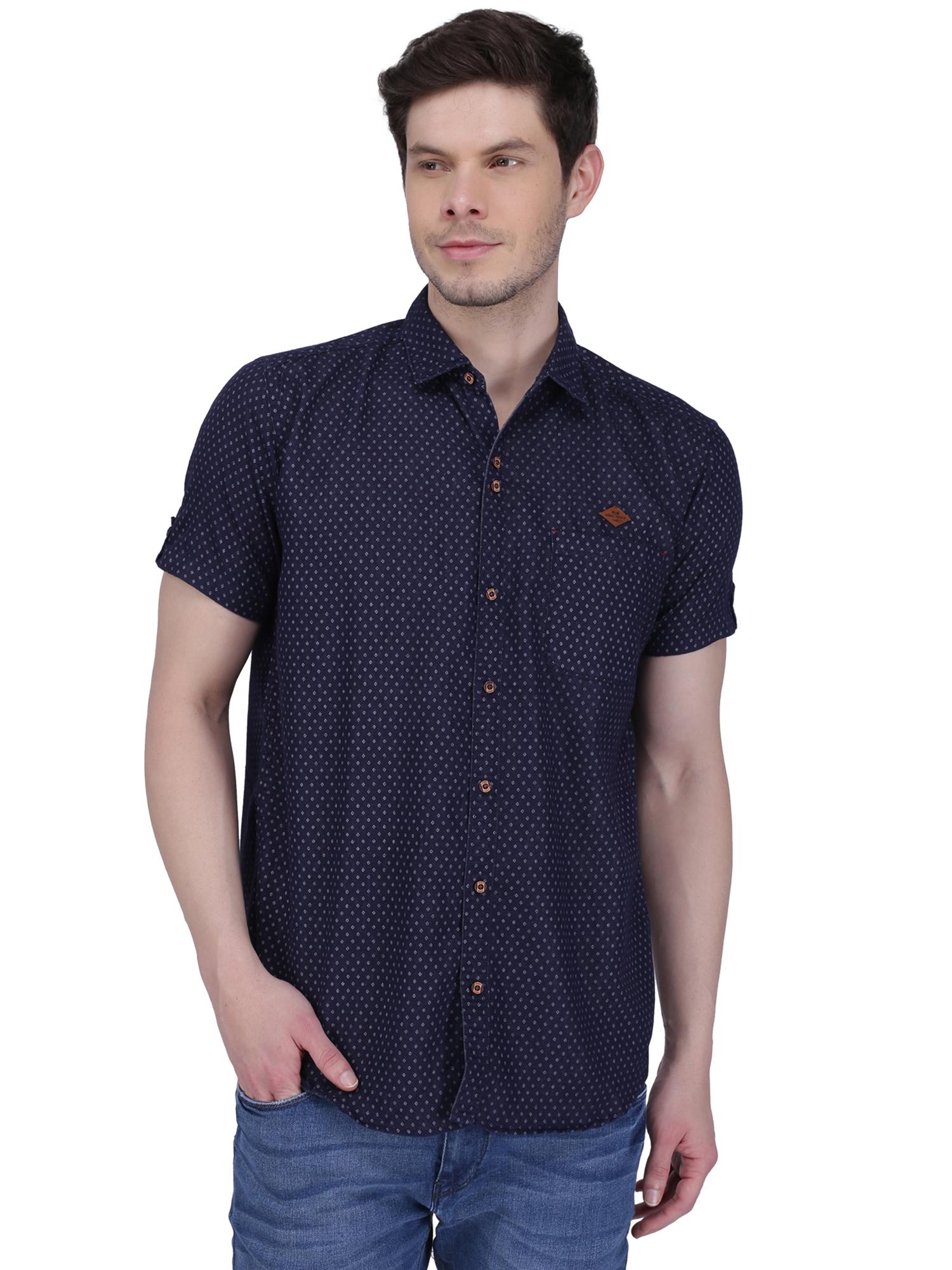 Kuons Avenue   Kuons Avenue Men's Indigo Print Half Sleeve Denim Shirt- KACLHS1188IG