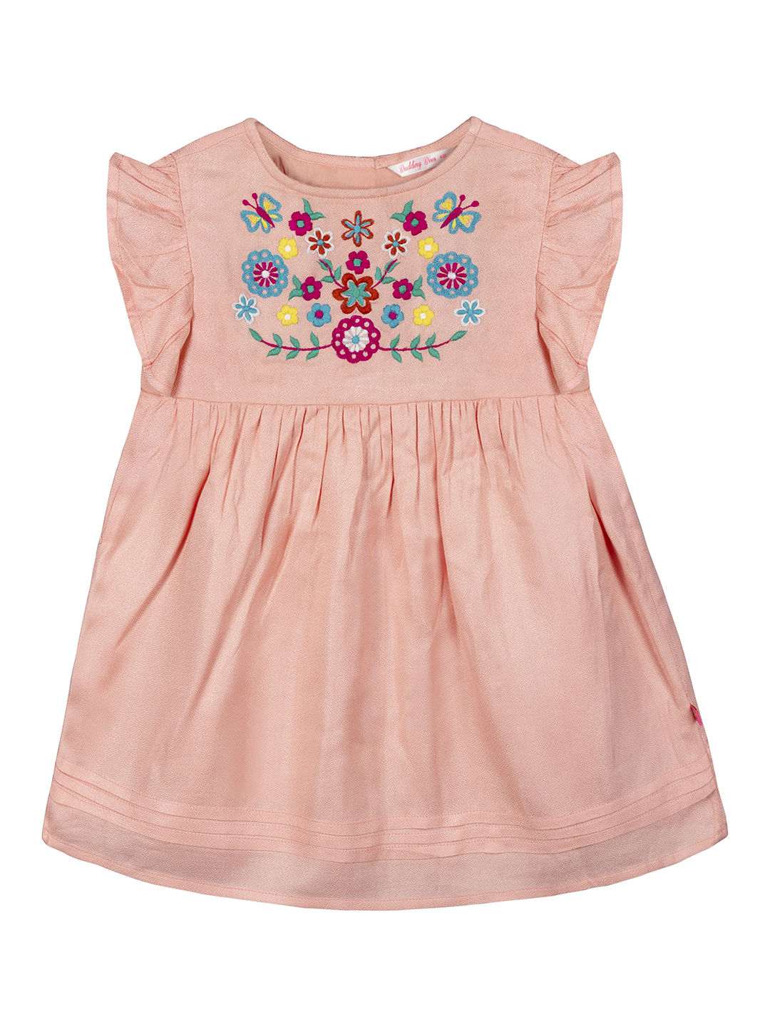 Budding Bees | Budding Bees Girls Embroidered Dress-Pink