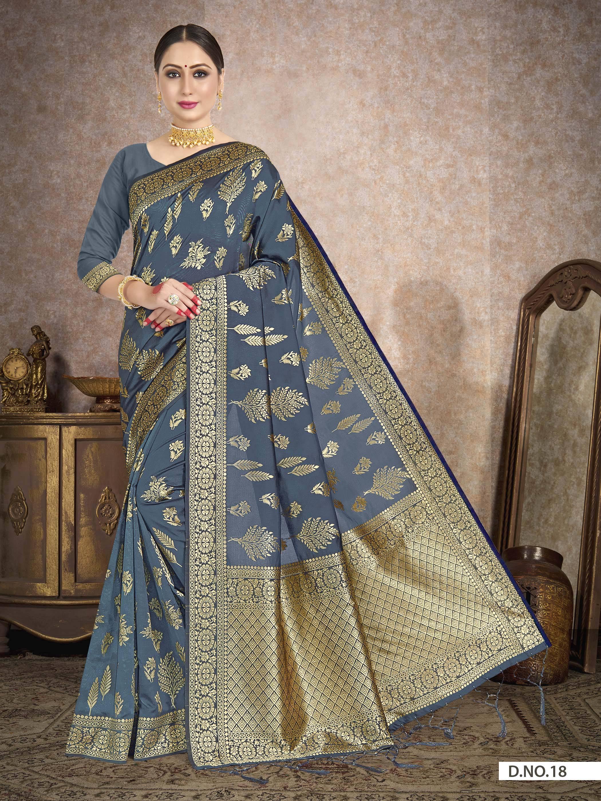 POONAM TEXTILE   Grey Festive Embroidered Banarasi Art Silk Saree