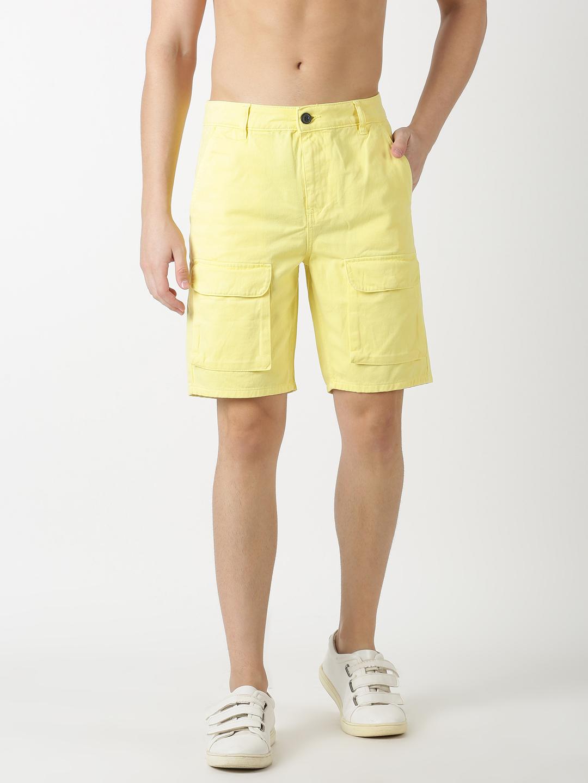 Blue Saint | Blue Saint Men'S Solid Yellow Shorts