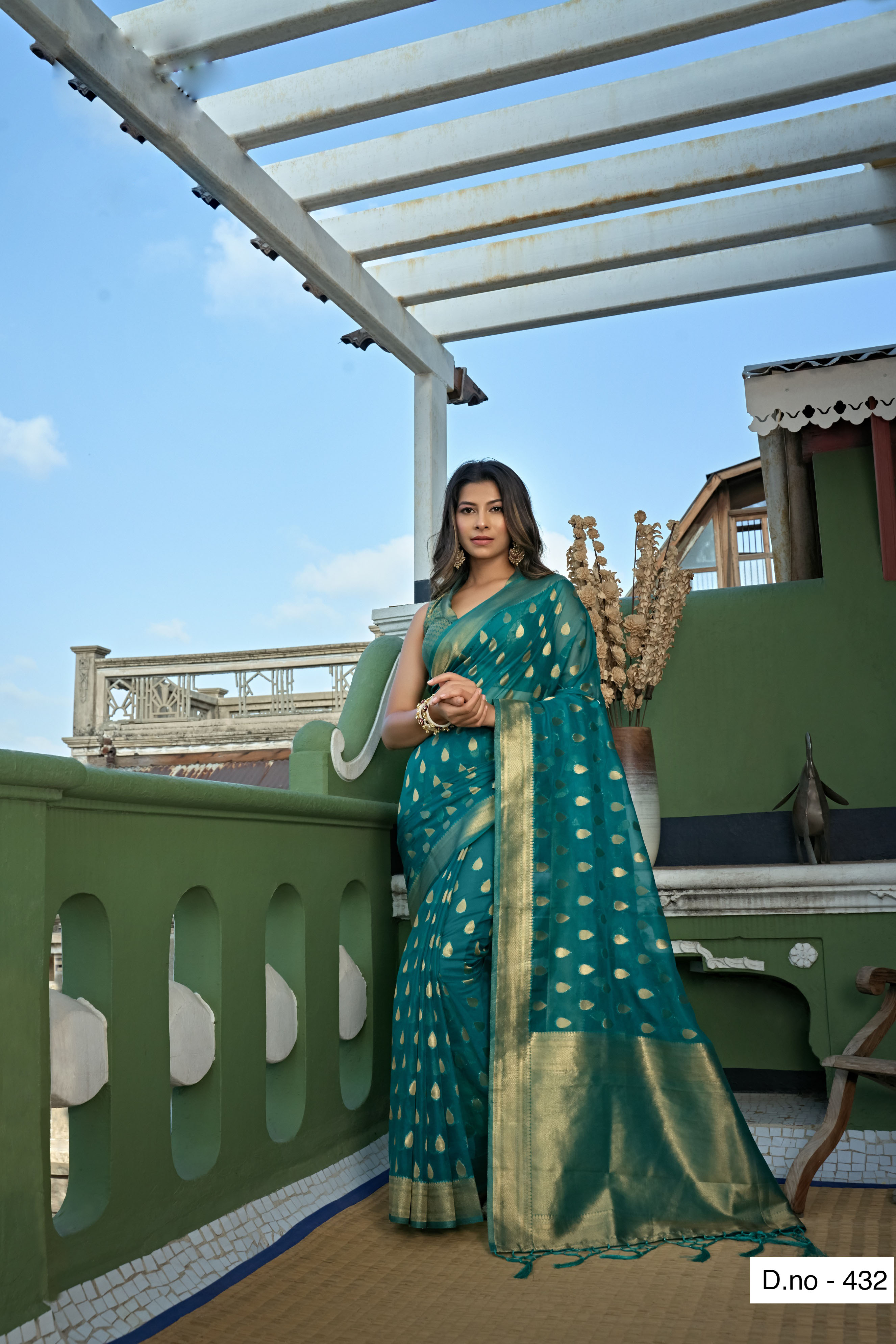 POONAM TEXTILE   Fashion Banaras Teal Organza Silk Hand Dyed Zari Festive Saree