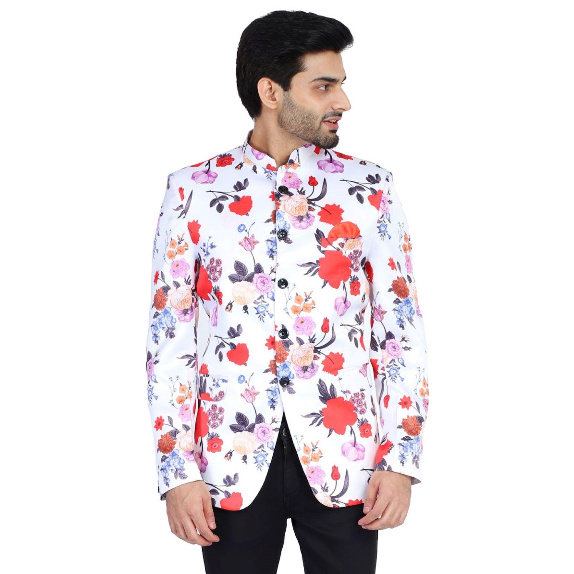 TAHVO | TAHVO Men Printed Men Blazer With Hanky