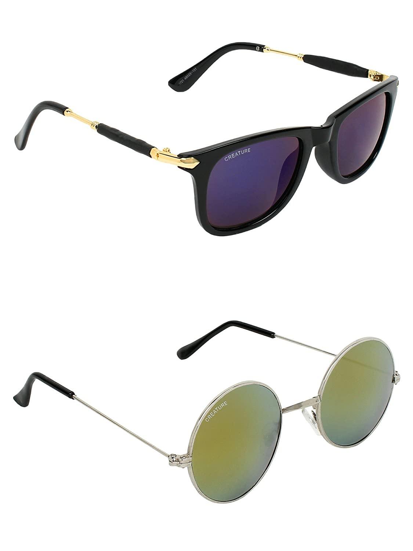 CREATURE | CREATURE Purple & Golden Round Sunglasses Combo with UV Protection (Lens-Purple & Golden|Frame-Black & Silver)