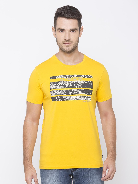 Spykar | spykar Yellow Cotton Activewear T-Shirts