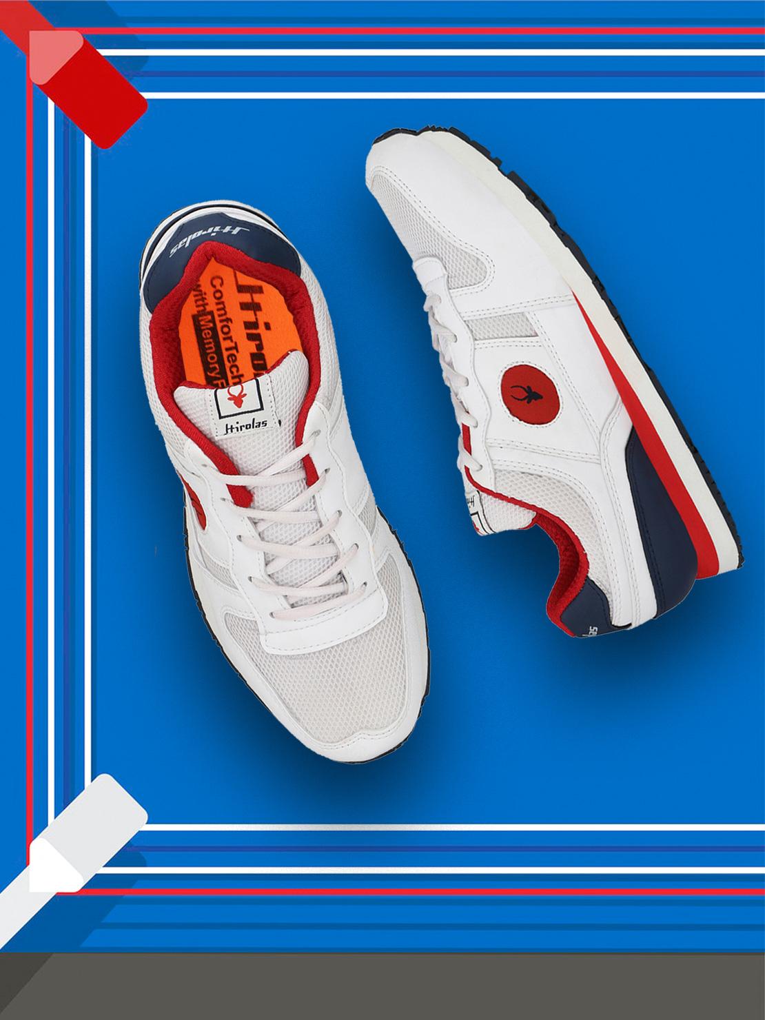 Hirolas   Hirolas Multi Sport Shock Absorbing Walking  Running Fitness Athletic Training Gym Fashion Sneaker Shoes - White/Red