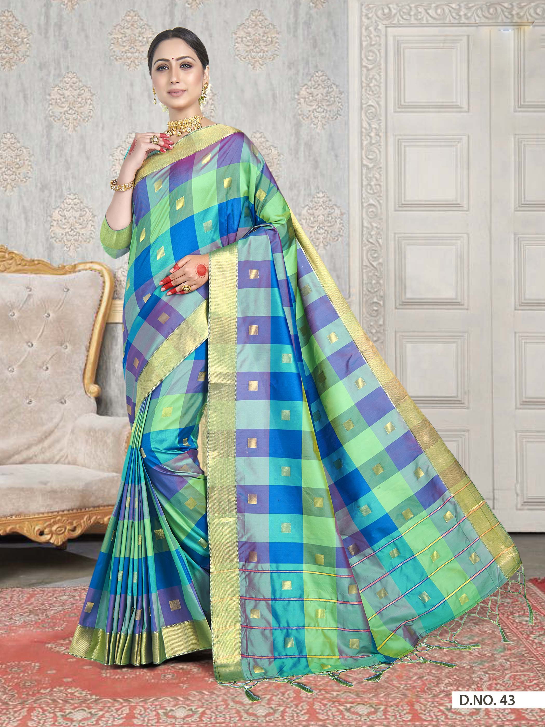 POONAM TEXTILE | Latest Banarasi Checkered Green Art Silk Woven Zari Festive Saree