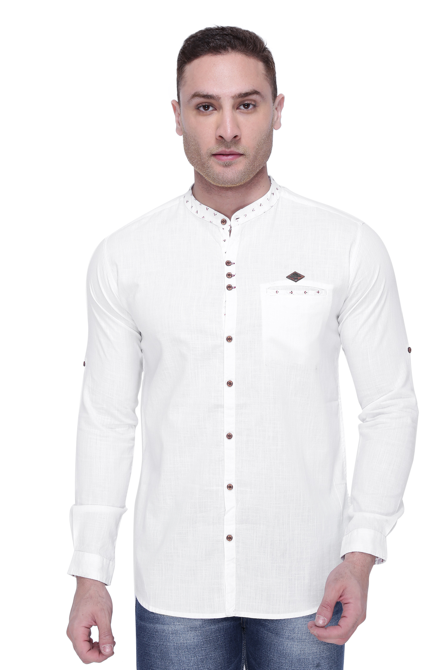 Kuons Avenue | Kuons Avenue Men's White  Linen Cotton Shirt- KACLFS1167WHT