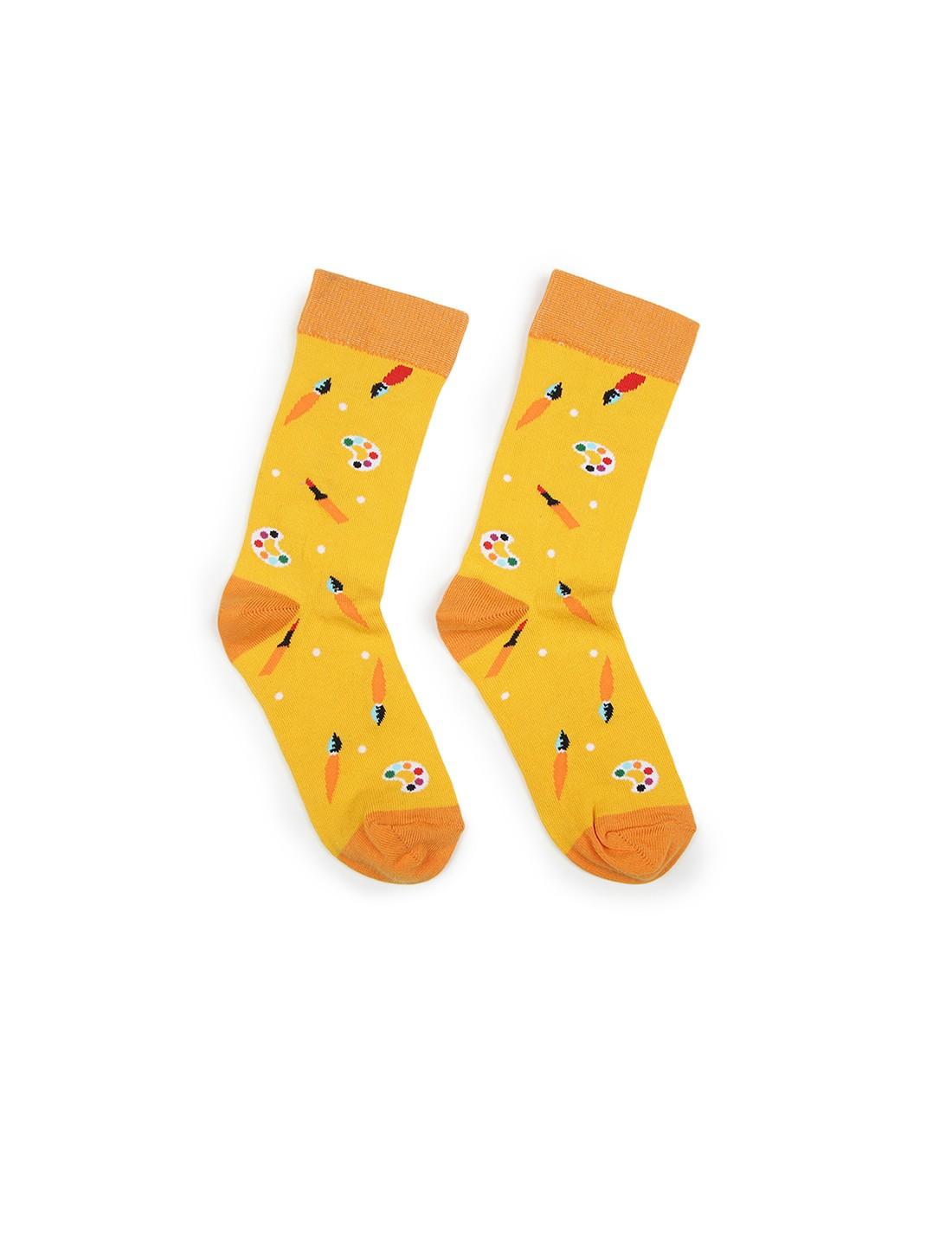 Soxytoes   Soxytoes Art Supplies Cotton Crew Length Yellow Kids Socks-Age (8-12 Years)