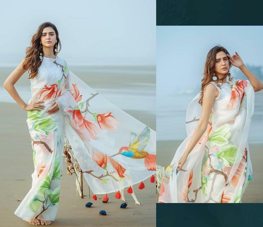 SATIMA | Satima Oranga Digtal print Saree