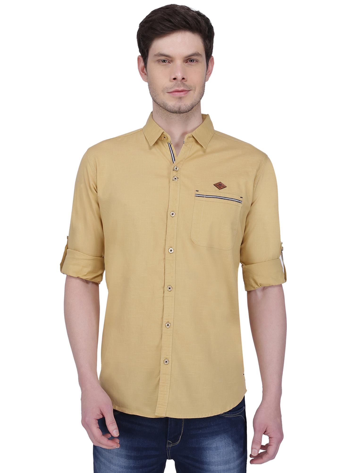 Kuons Avenue | Kuons Avenue Men's Beige Khaki Linen Cotton Shirt- KACLFS1304BE