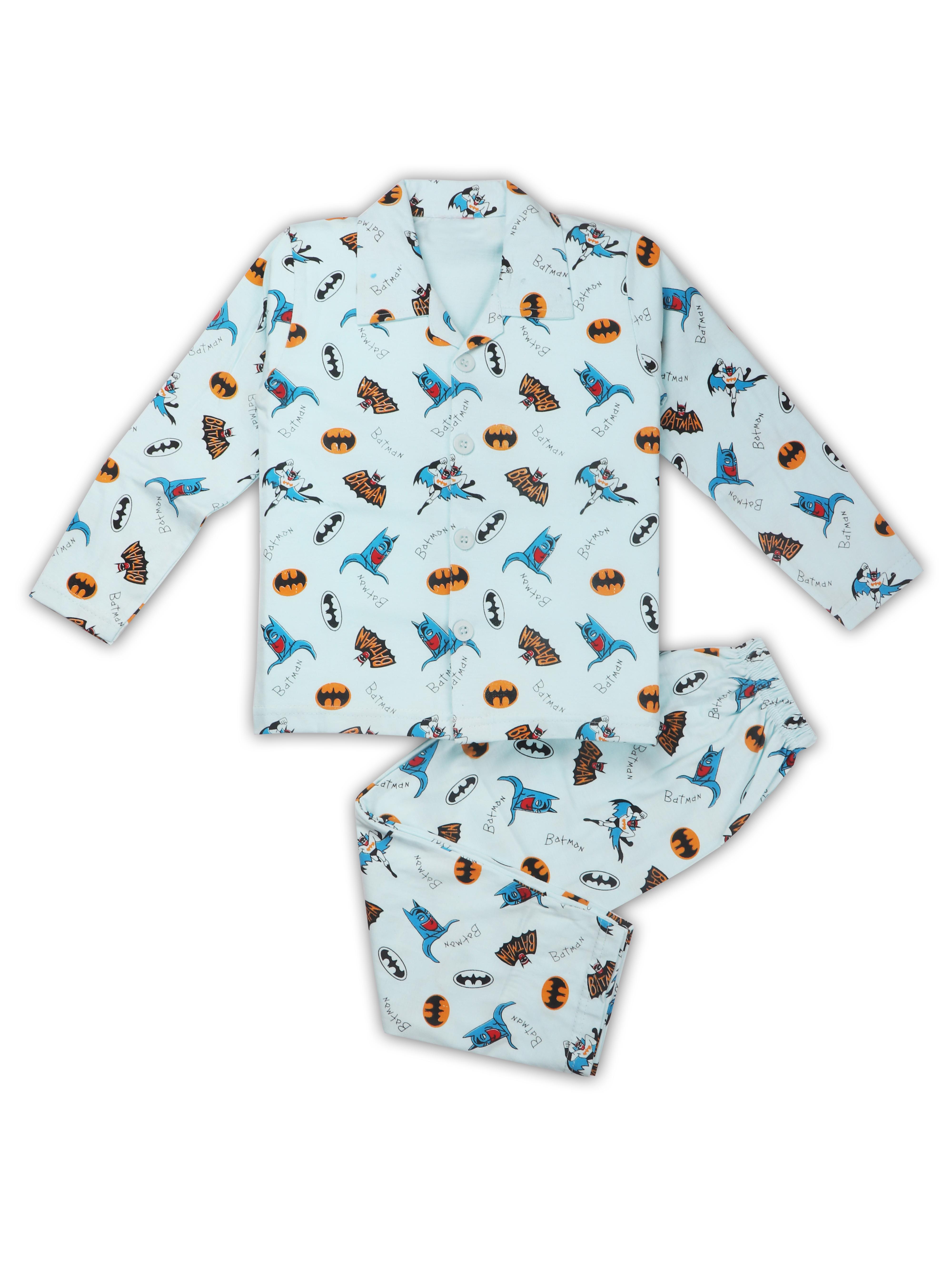 AAAKAR | AAAKAR Full Sleeves NightSuit Batman Print - Blue