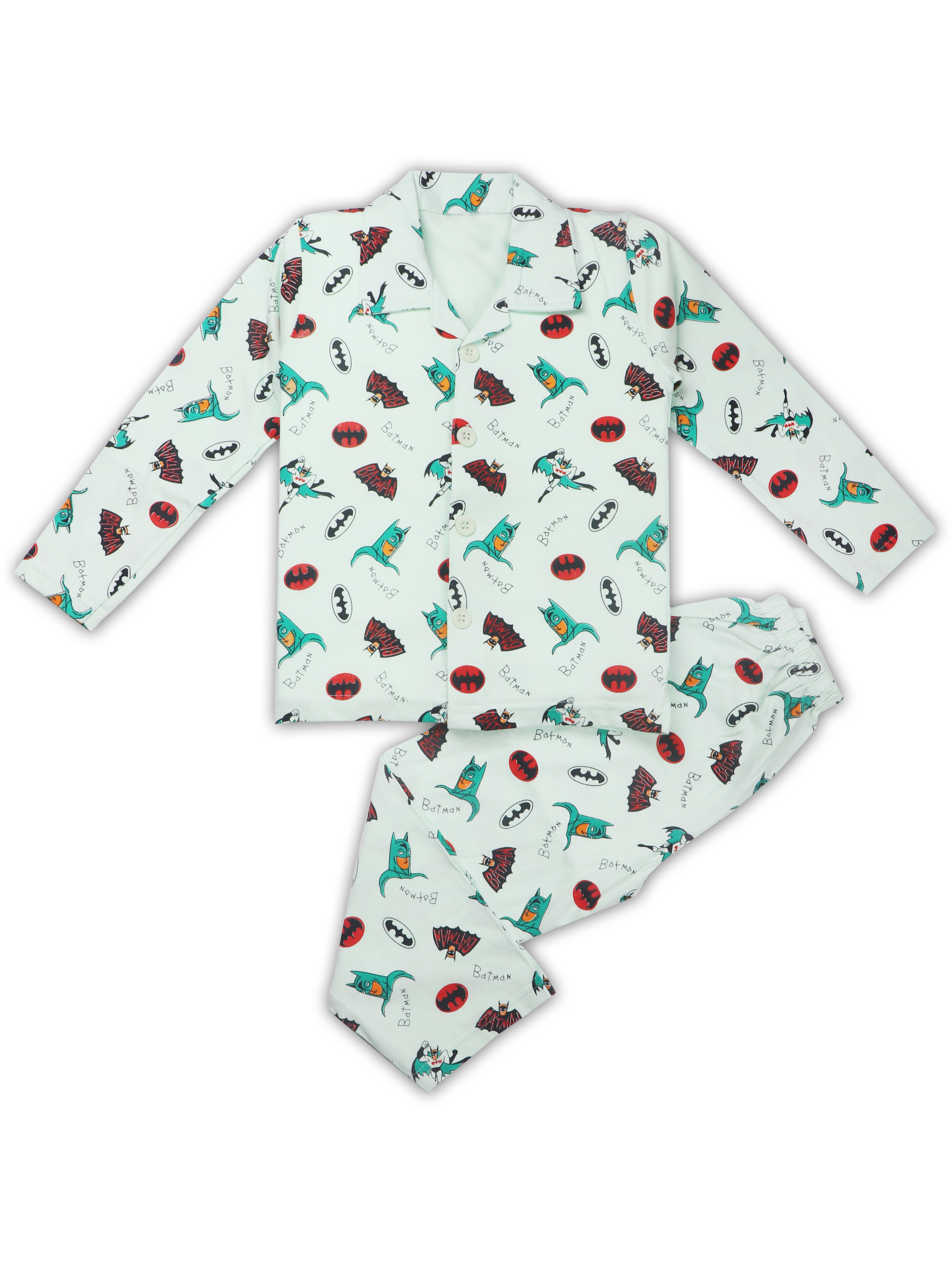 AAAKAR   AAAKAR Full Sleeves NightSuit Batman Print - Green