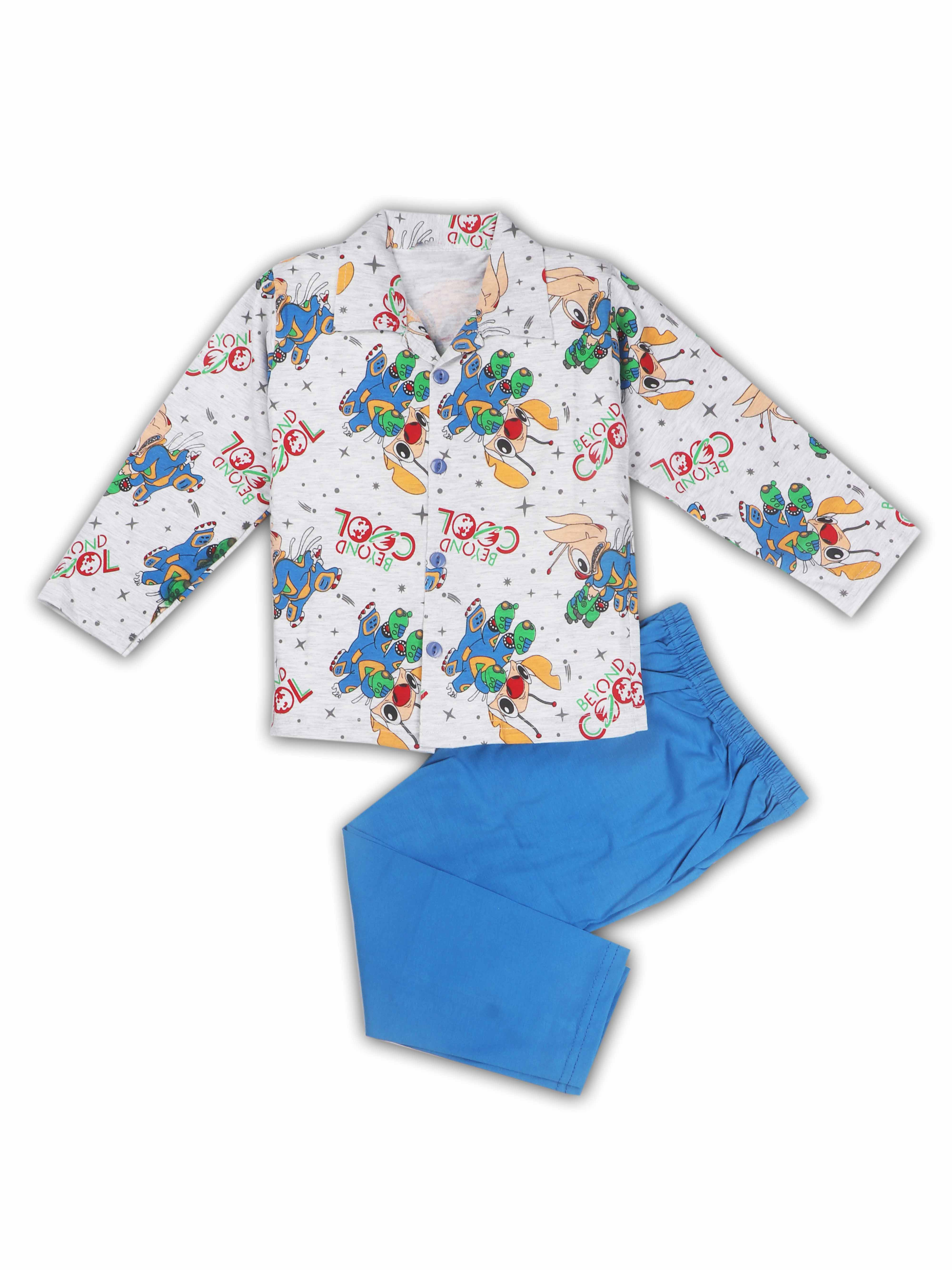 AAAKAR | AAAKAR Full Sleeves Night Suit All Over Print - Blue