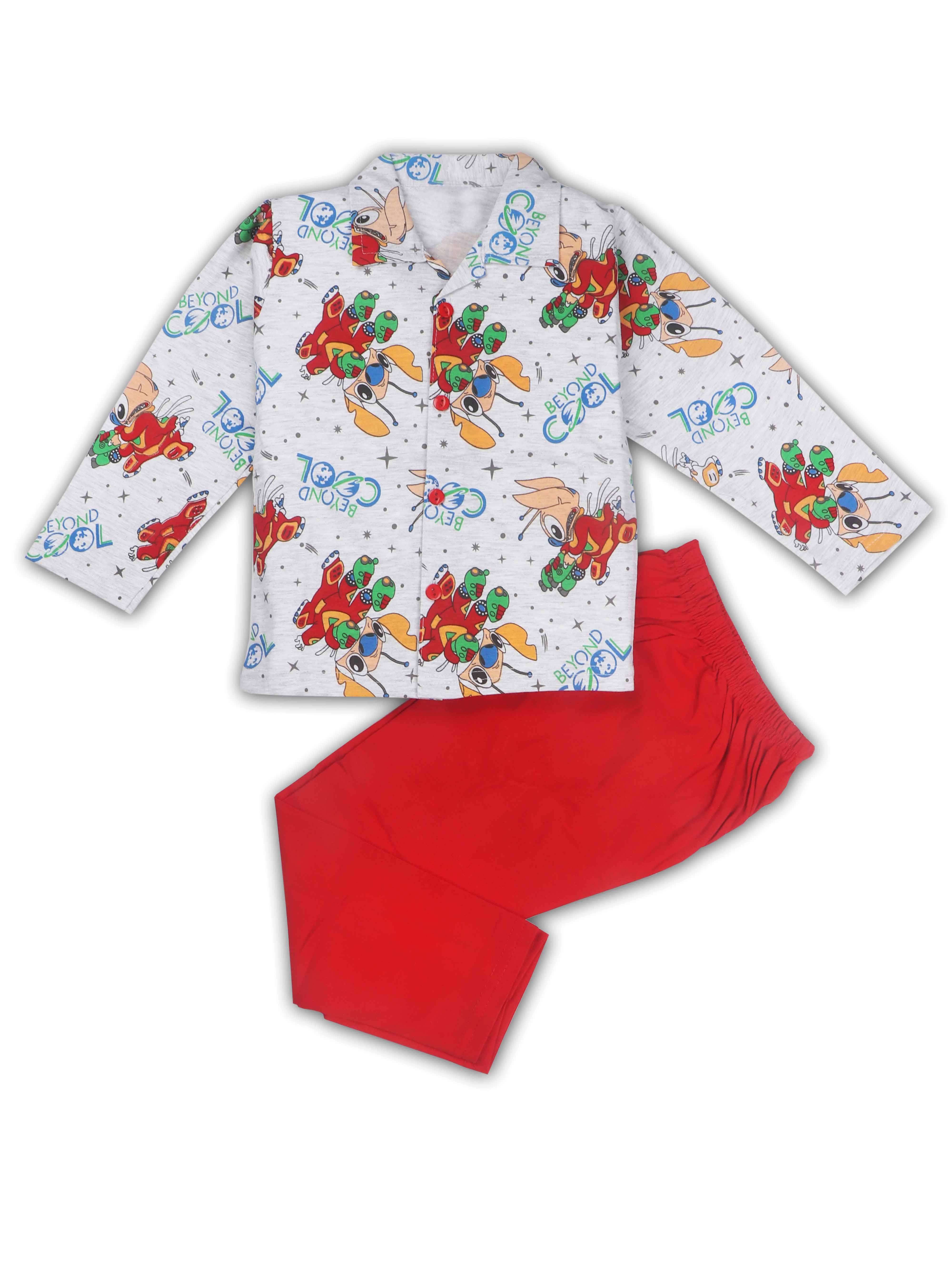AAAKAR | AAAKAR Full Sleeves Night Suit All Over Print - Red