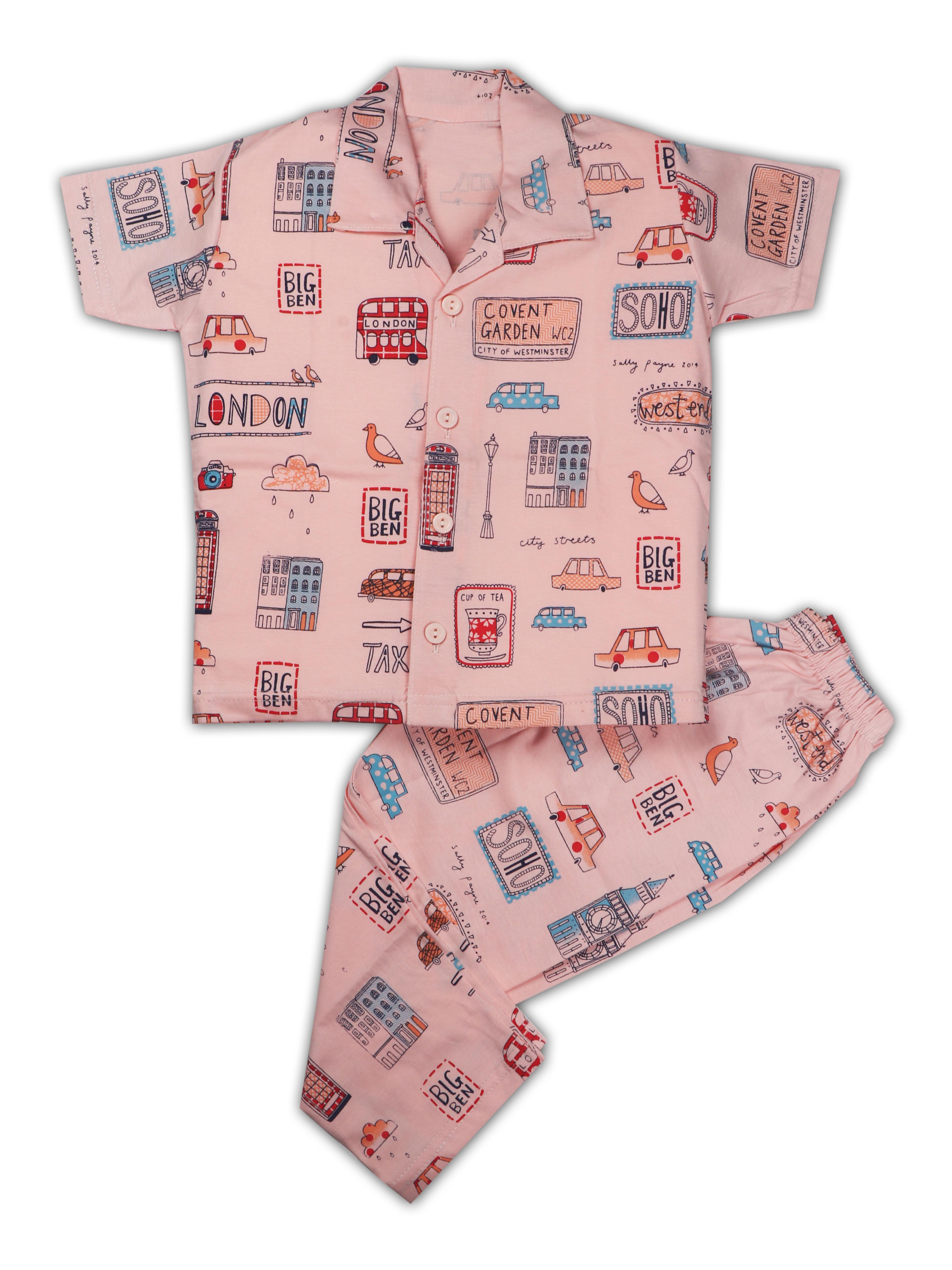 AAAKAR   AAAKAR Full Sleeves Night Suit All Over Print London - Peach