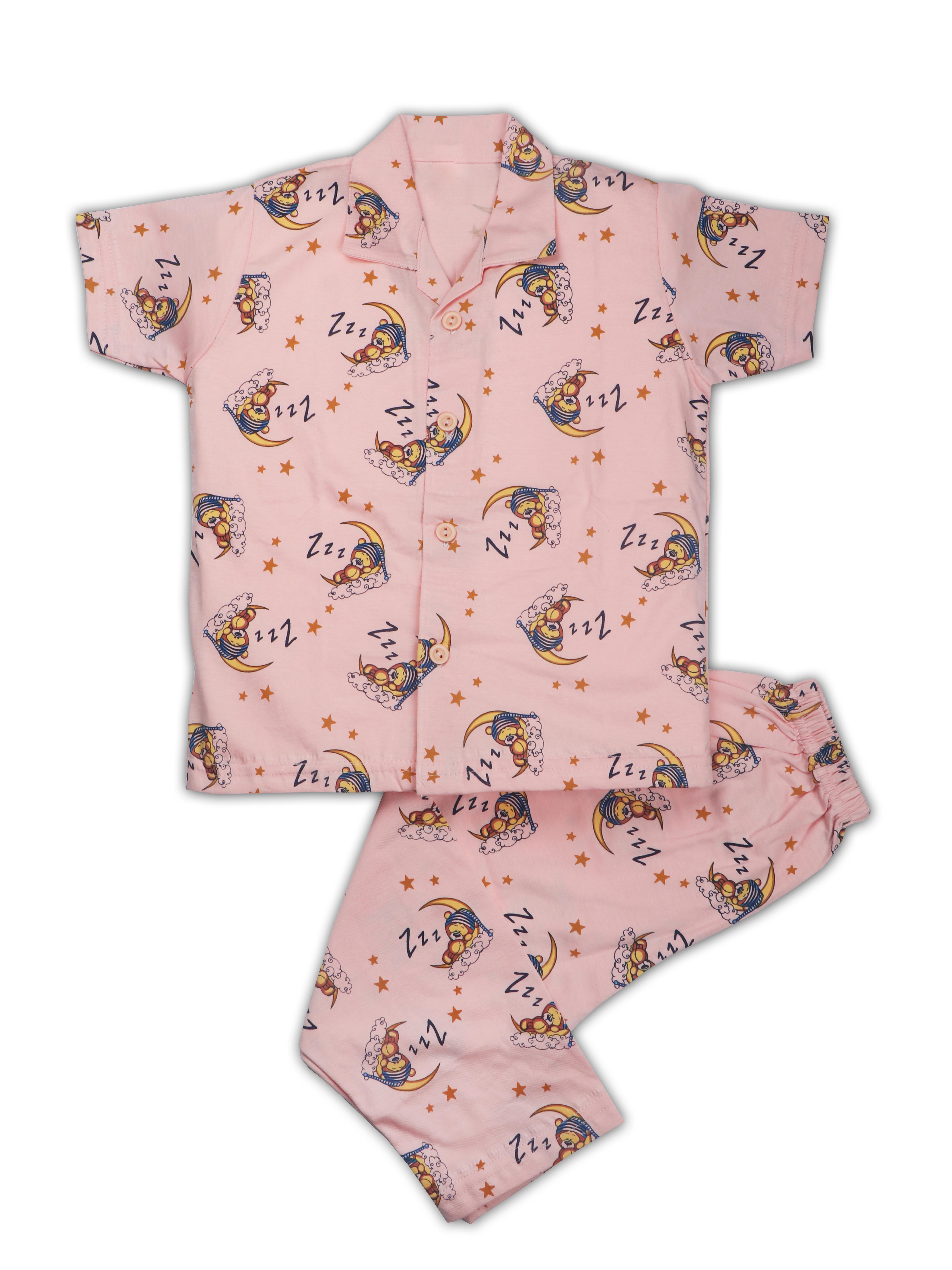 AAAKAR   AAAKAR Full Sleeves Night Suit All Over Print Night - Peach