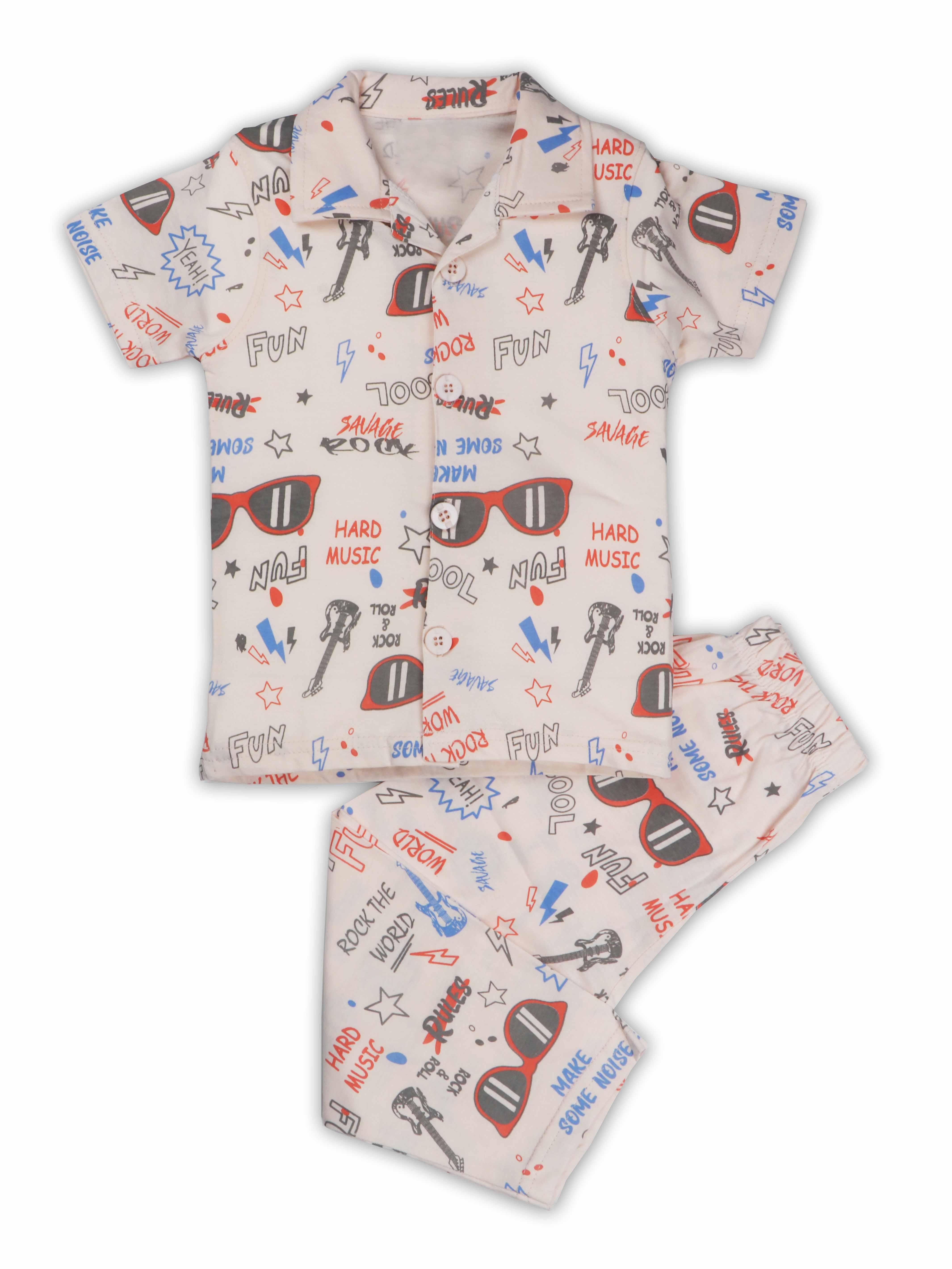AAAKAR | AAAKAR Full Sleeves Night Suit All Over Print - Cream