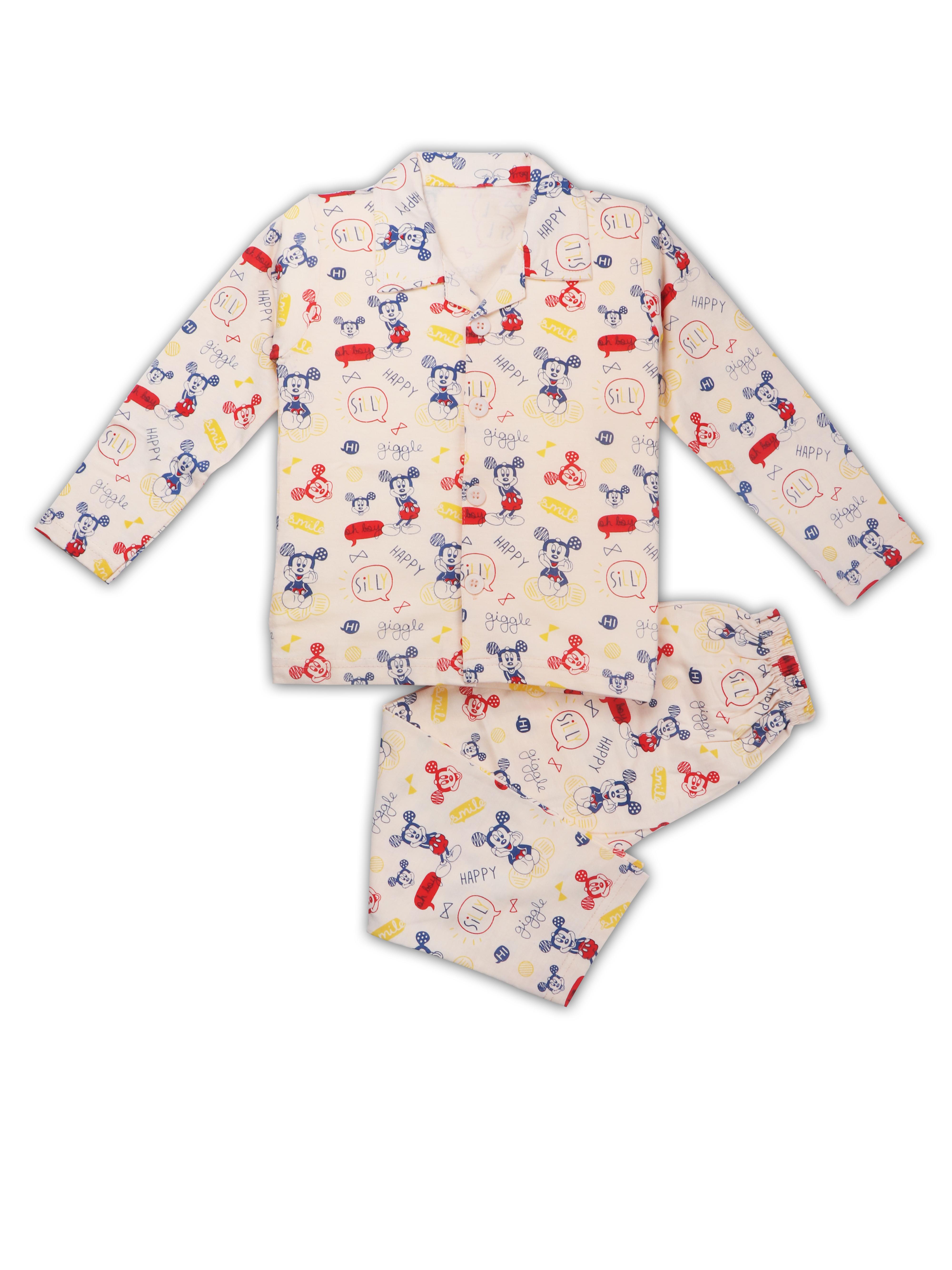 AAAKAR | AAAKAR Full Sleeves Night Suit All Over Print Mickey - Peach