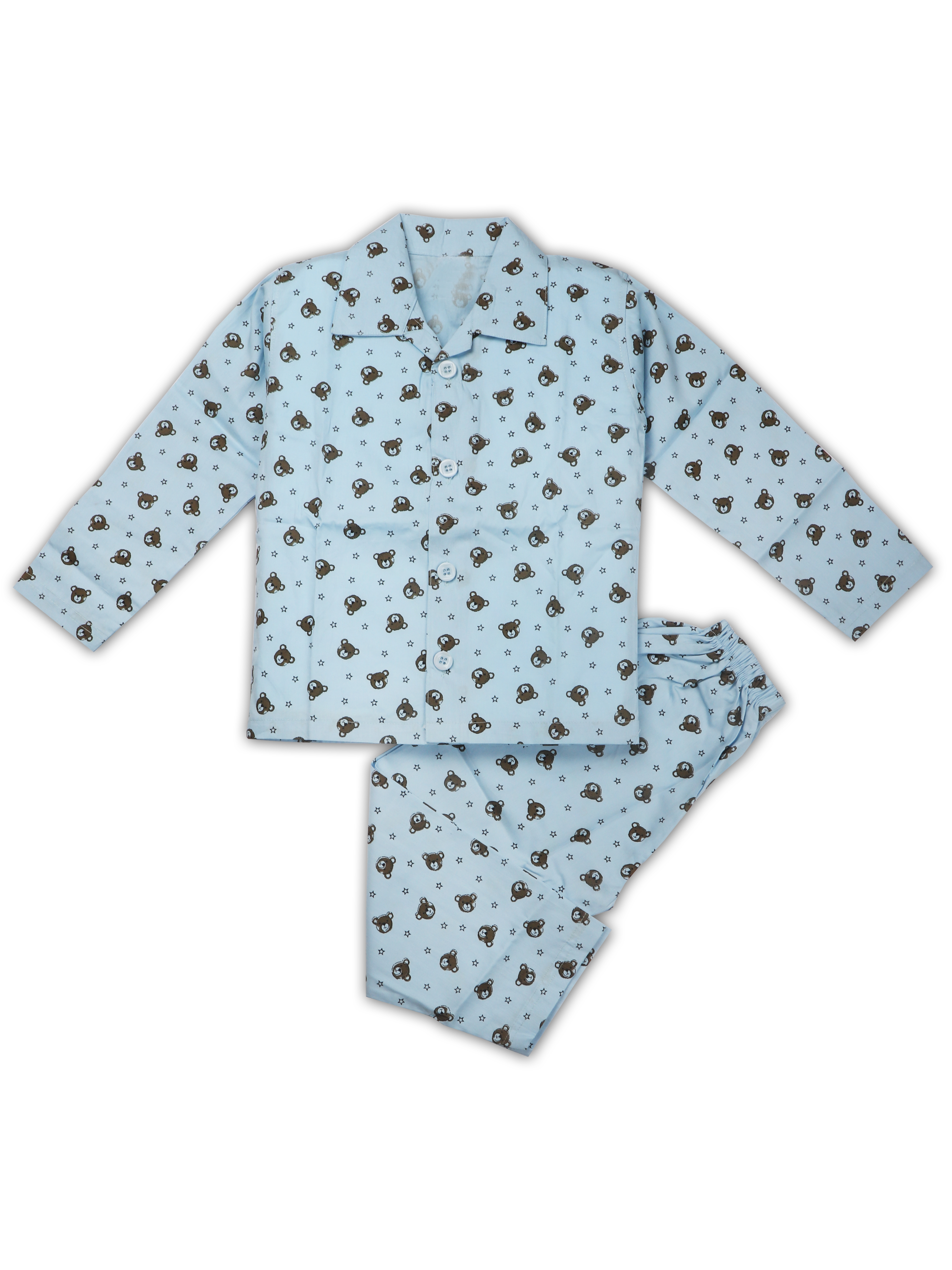 AAAKAR | AAAKAR Full Sleeves Night Suit All Over Print Animal - Blue