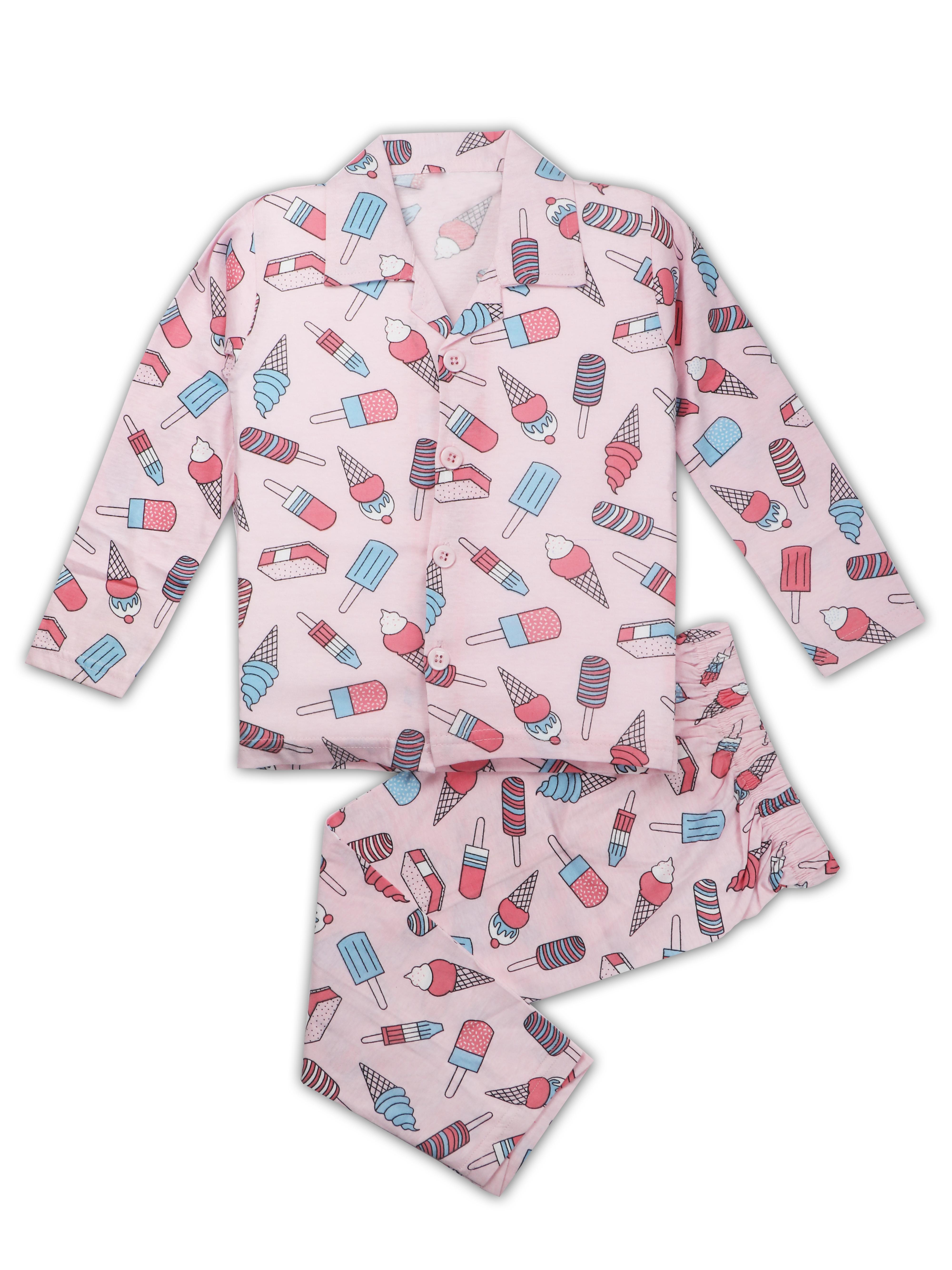 AAAKAR | AAAKAR Full Sleeves Night Suit All Over Print Ice Cream - Pink
