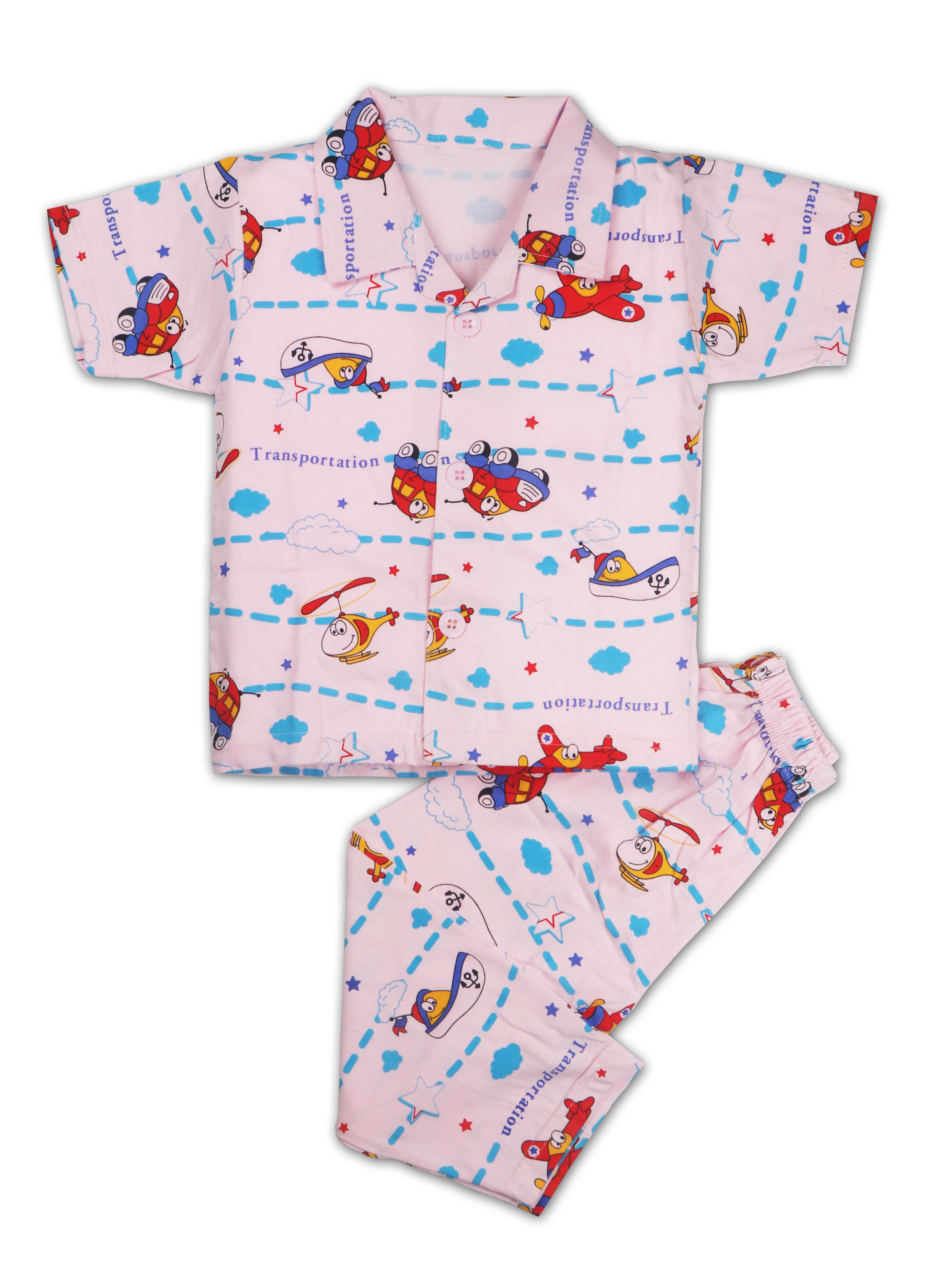 AAAKAR | AAAKAR Full Sleeves Night Suit All Over Print Aeroplane- Pink