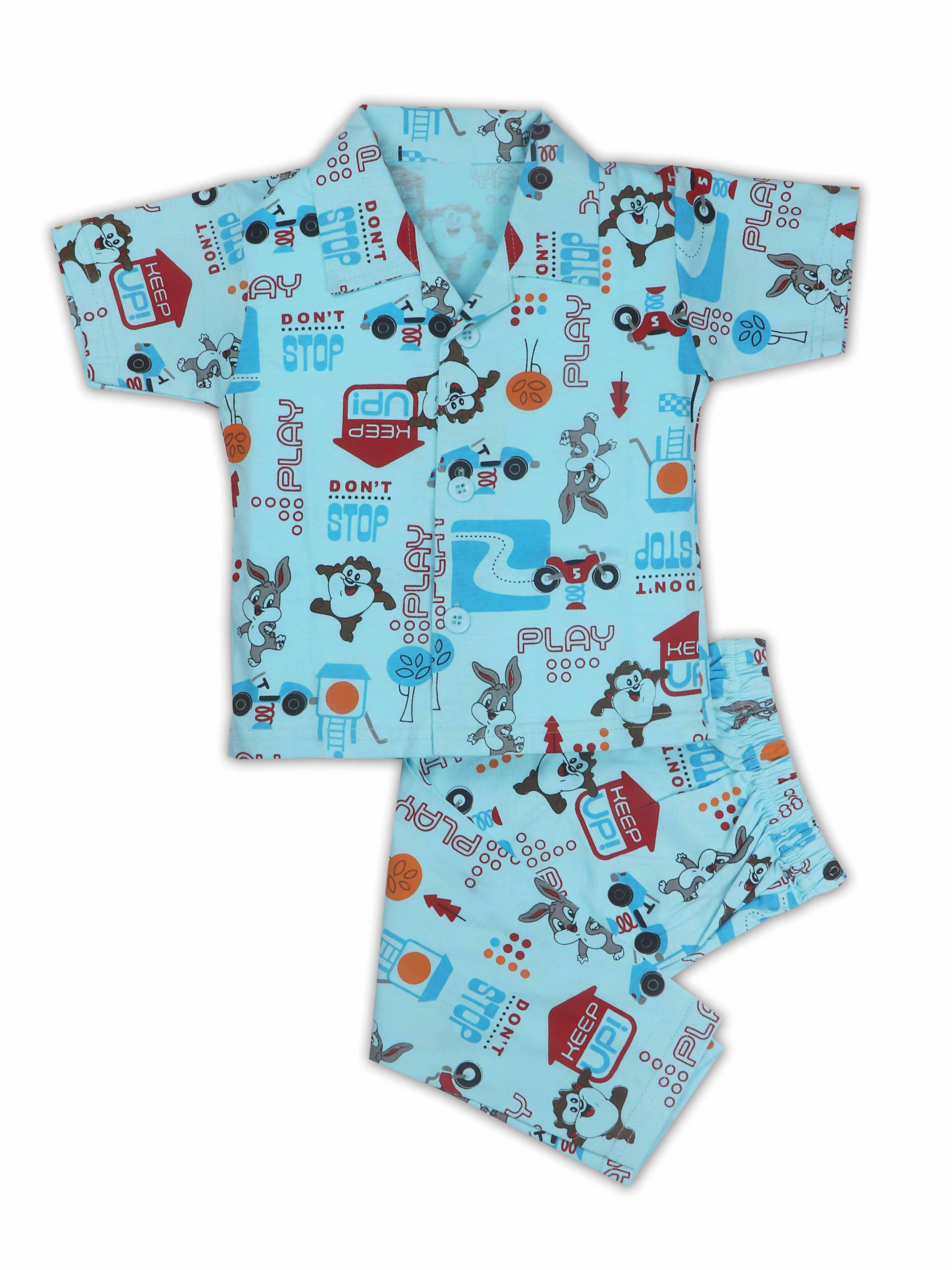 AAAKAR | AAAKAR Full Sleeves Night Suit All Over Print Sports - Blue