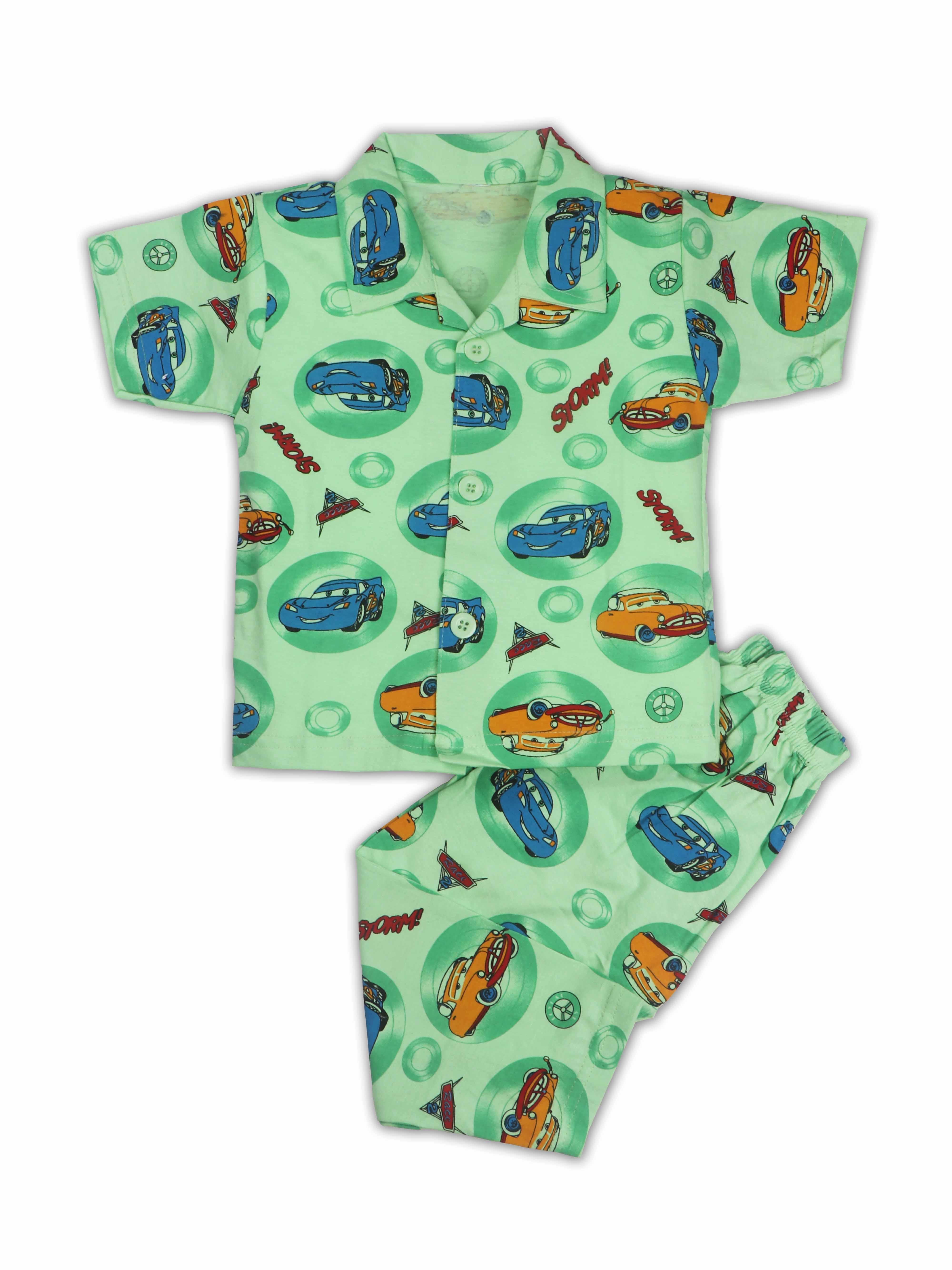 AAAKAR   AAAKAR Full Sleeves Night Suit All Over Print Cars - green