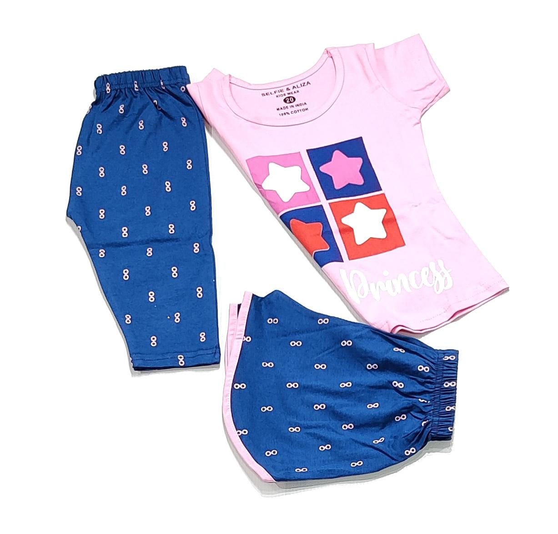 AAAKAR | Girl's Graphic Printed Top, Shorts And Capri Combo Set