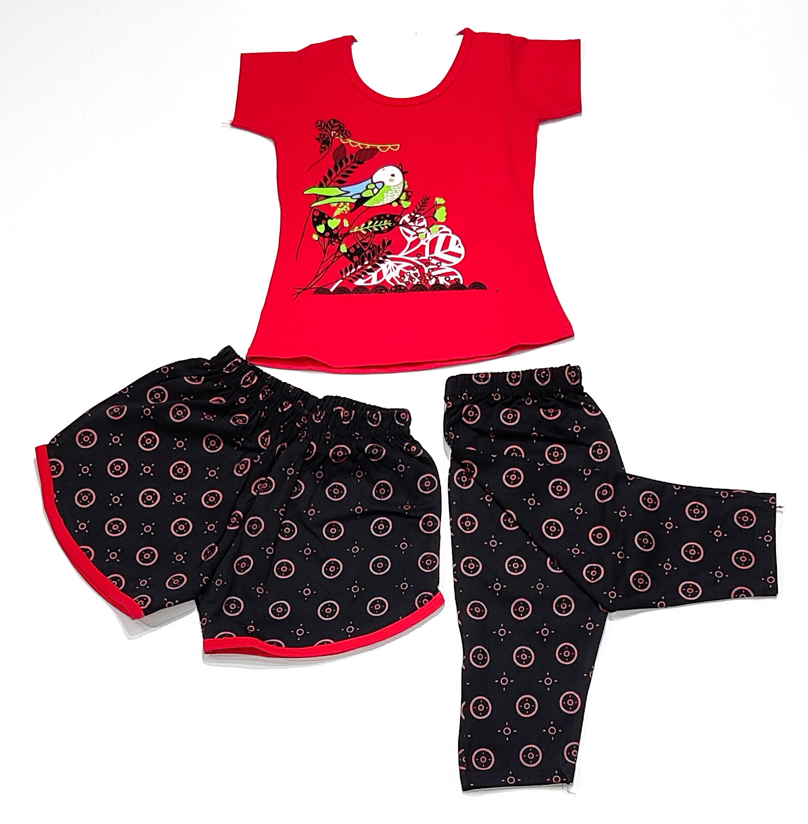 AAAKAR   Girl's Graphic Printed Top, Capri and Shorts Combo Pack