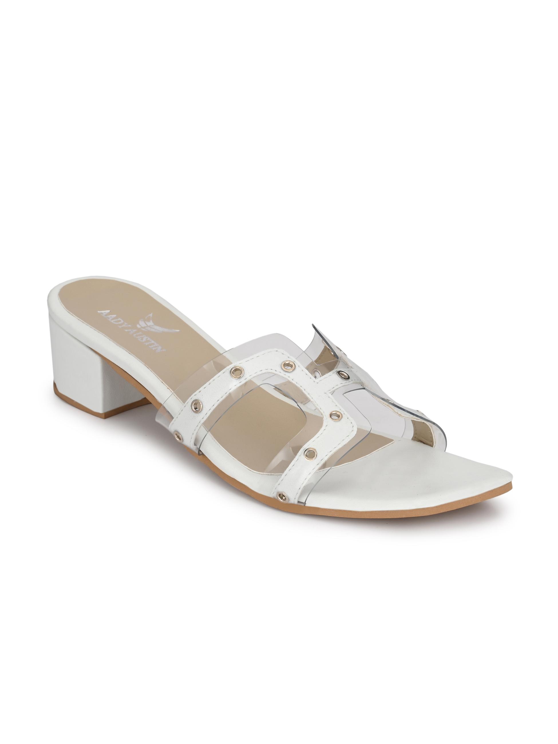 AADY AUSTIN | Aady Austin White Block Heel Sandals