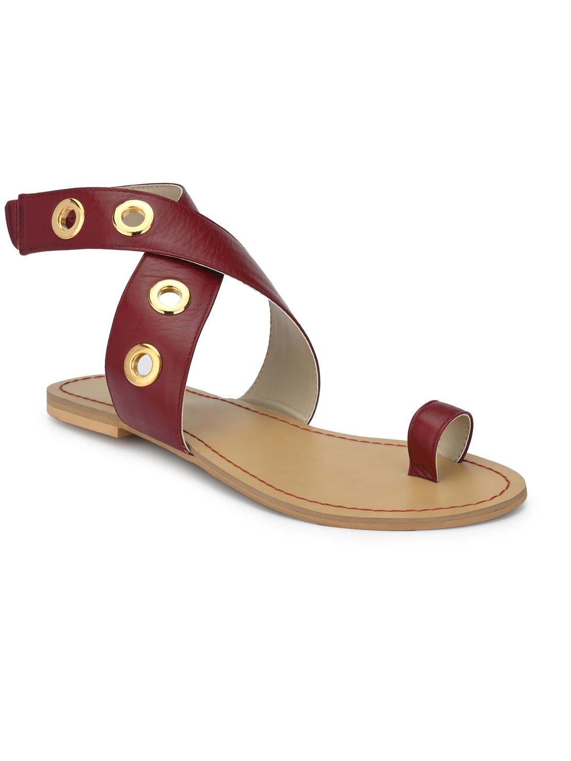 AADY AUSTIN | Aady Austin Flat Sandals - Maroon