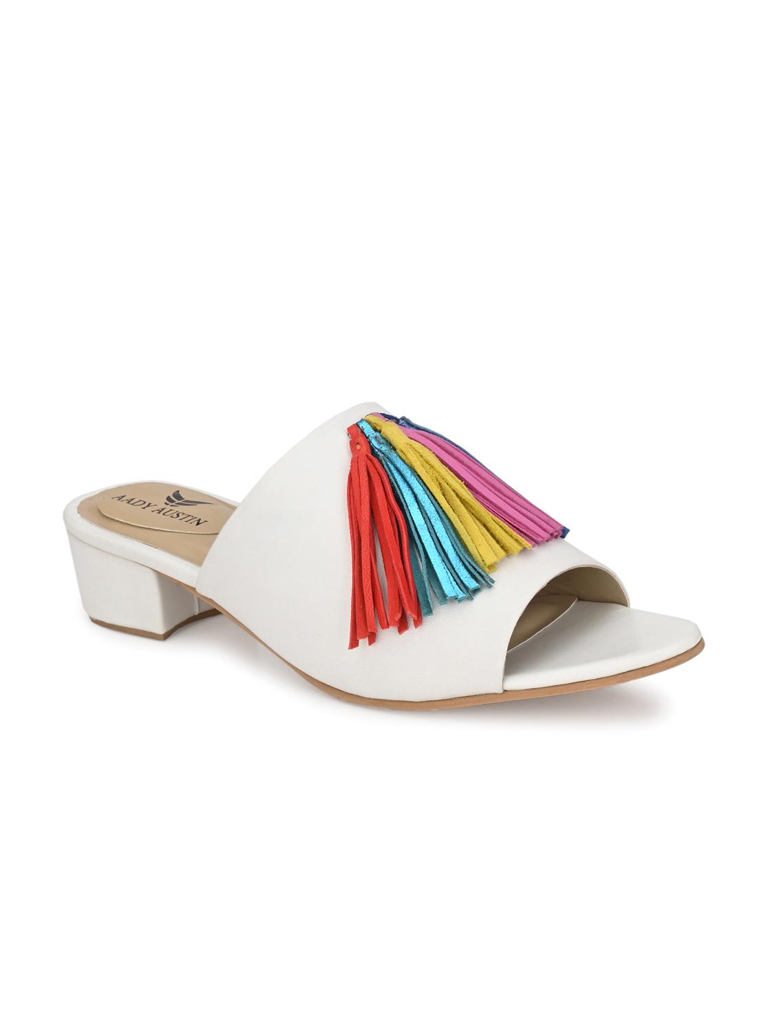 AADY AUSTIN | Aady Austin Women's Trendy White Pointed Toe Block Heel