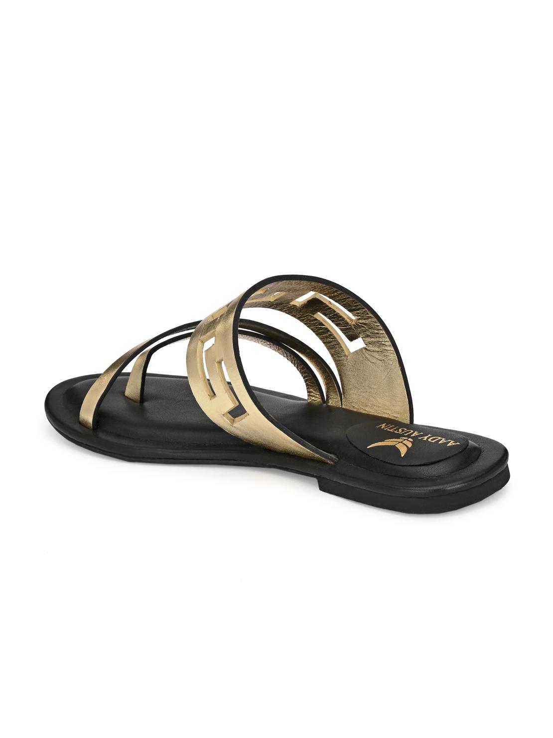 AADY AUSTIN   Aady Austin Women's Trendy Gold Round Toe Flats
