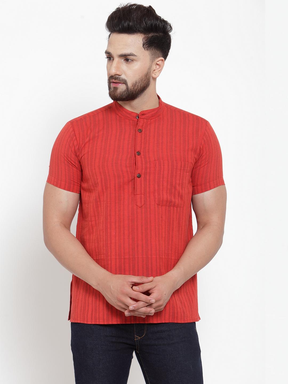 Abhiyuthan | Red Self stripes Short Kurta